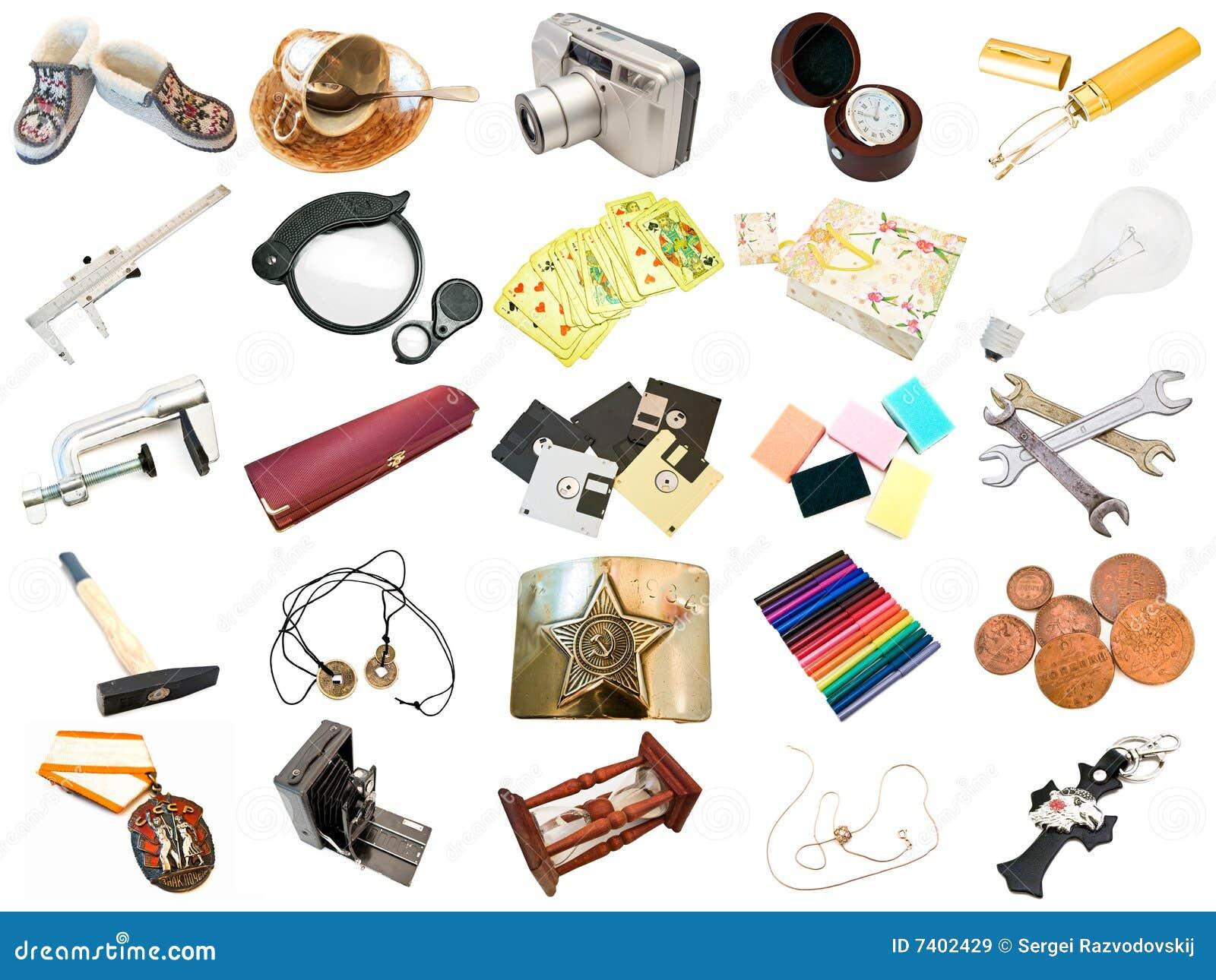 Inställda olika dagliga objekt