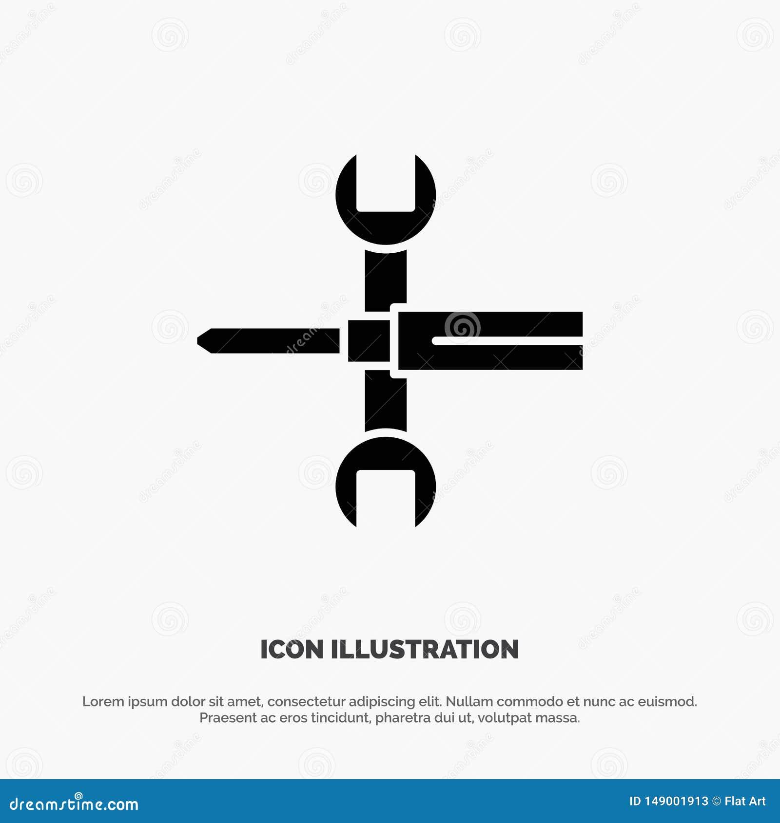 Inställningar styrning, skruvmejsel, skruvnyckel, hjälpmedel, för skårasymbol för skiftnyckel fast vektor