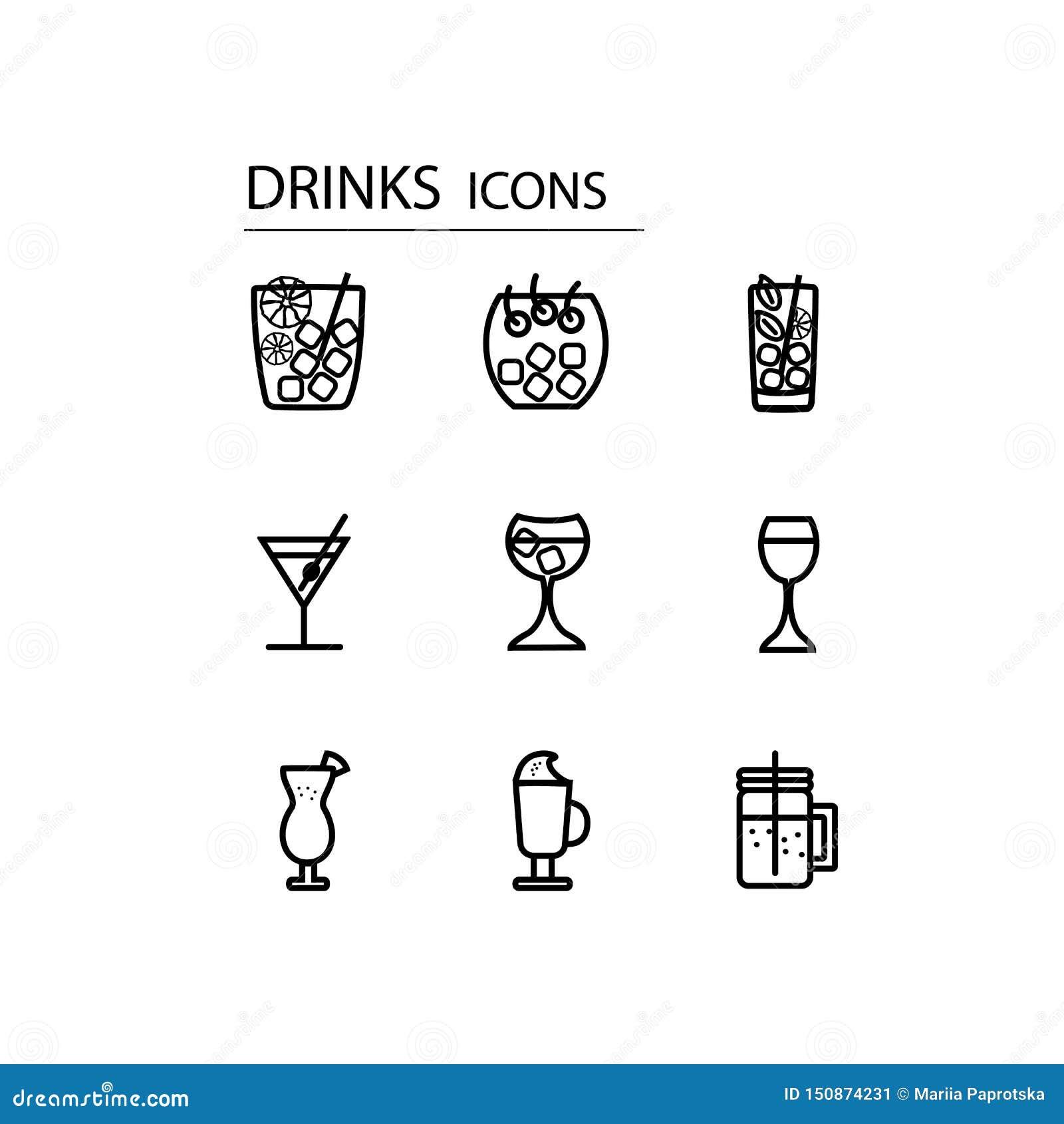 Inst?llda drinksymboler F?r olik design
