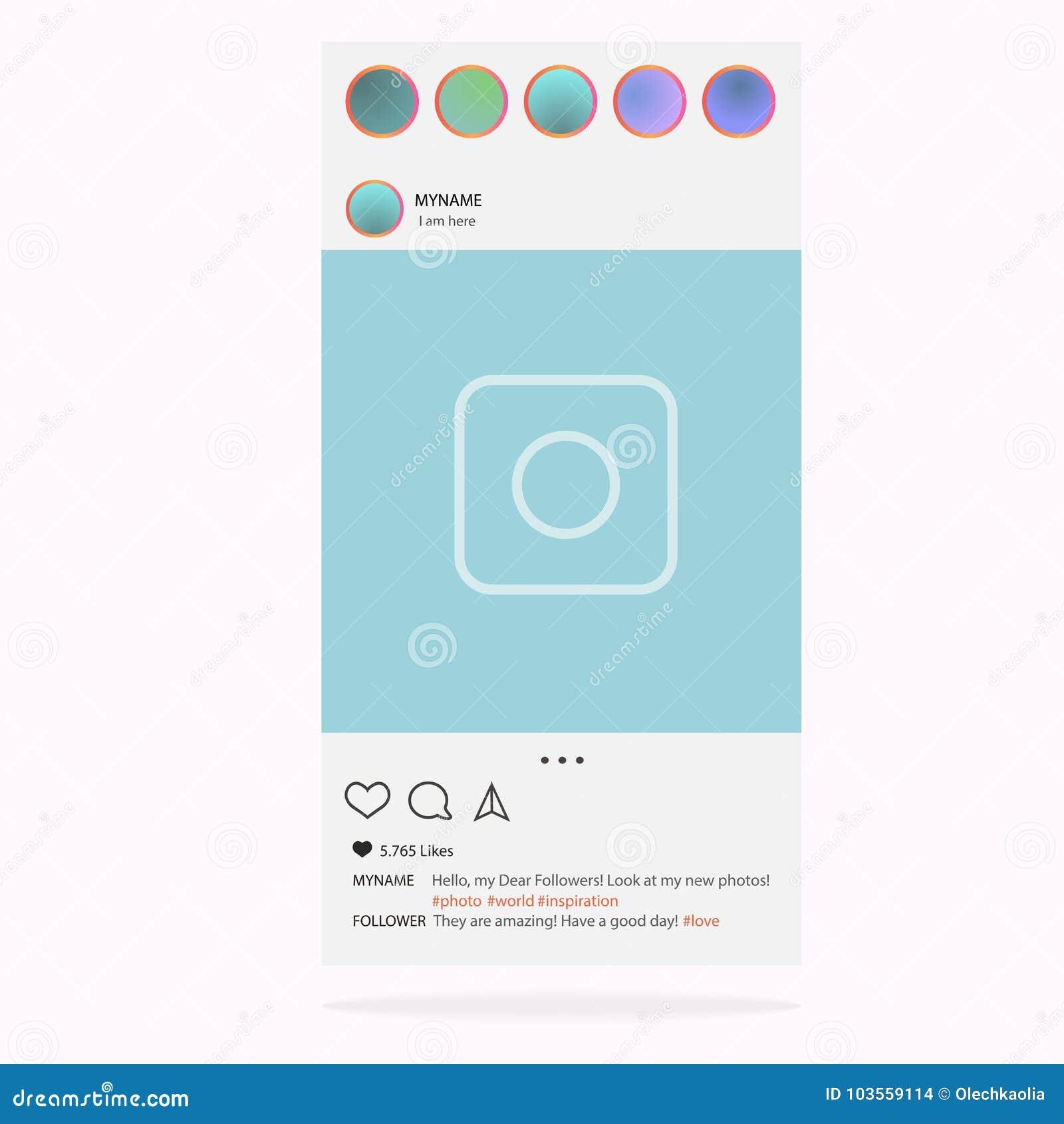 Instagram Διάνυσμα πλαισίων φωτογραφιών για την εφαρμογή Κοινωνική έννοια και διεπαφή MEDIA