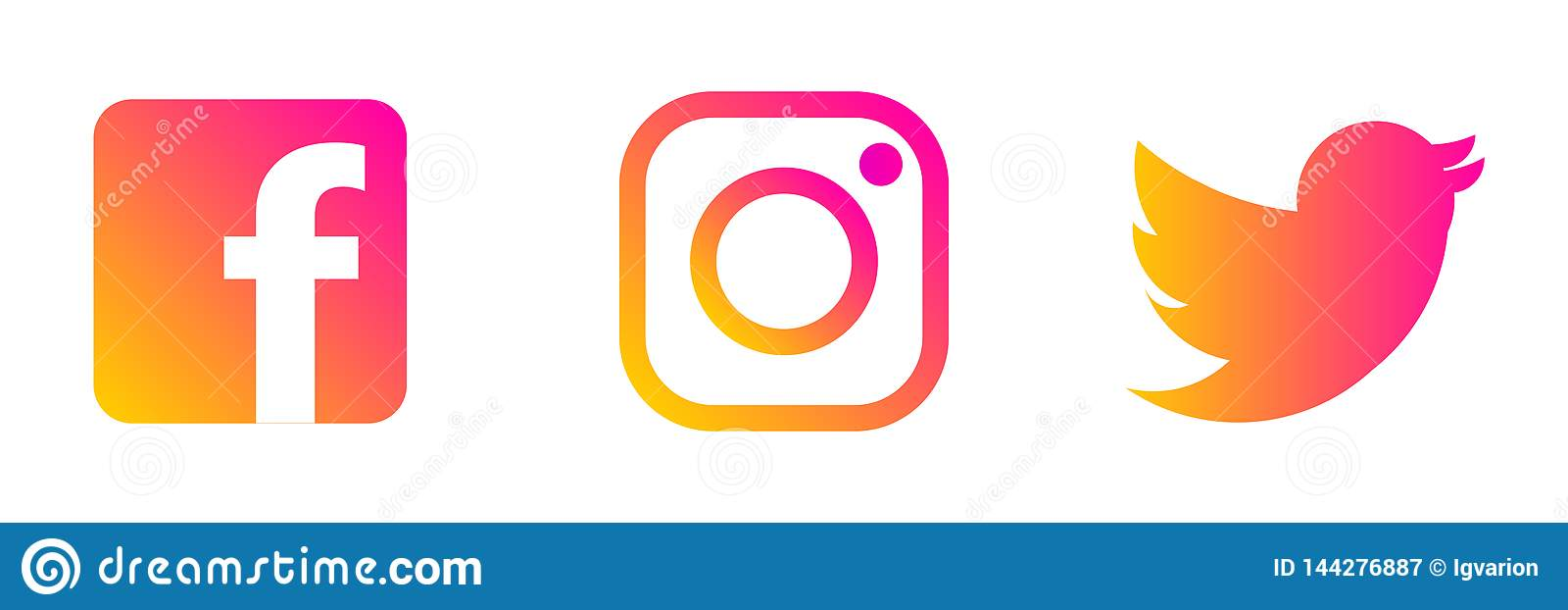 Instagram, логотип Twitter Facebook