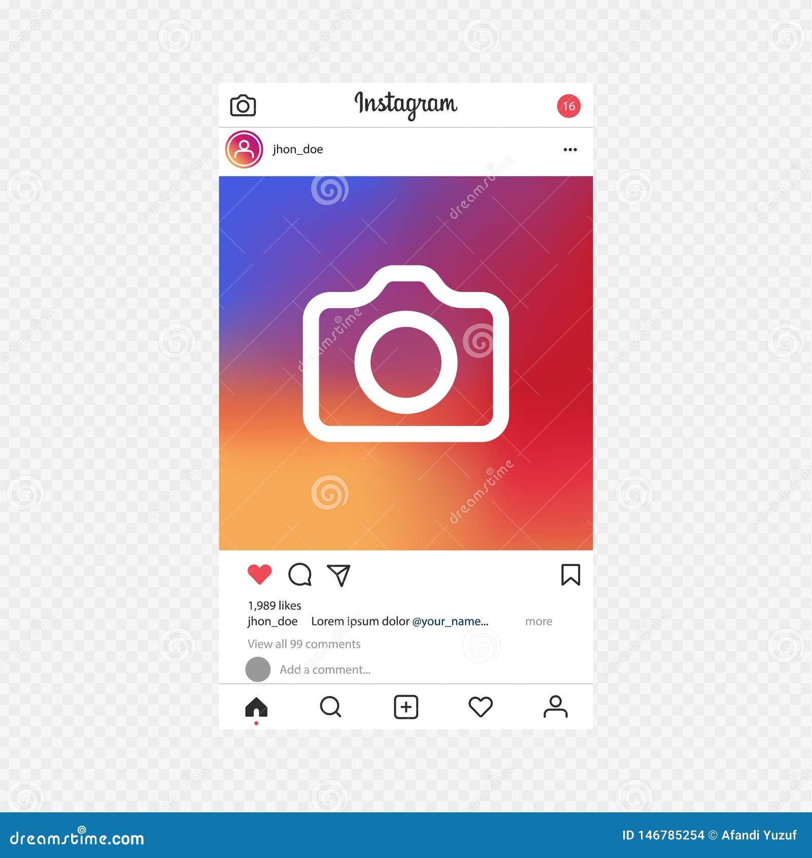 Instagram app Fotografia ramowy wektor dla zastosowania Og?lnospo?eczny Medialny poj?cie i interfejs