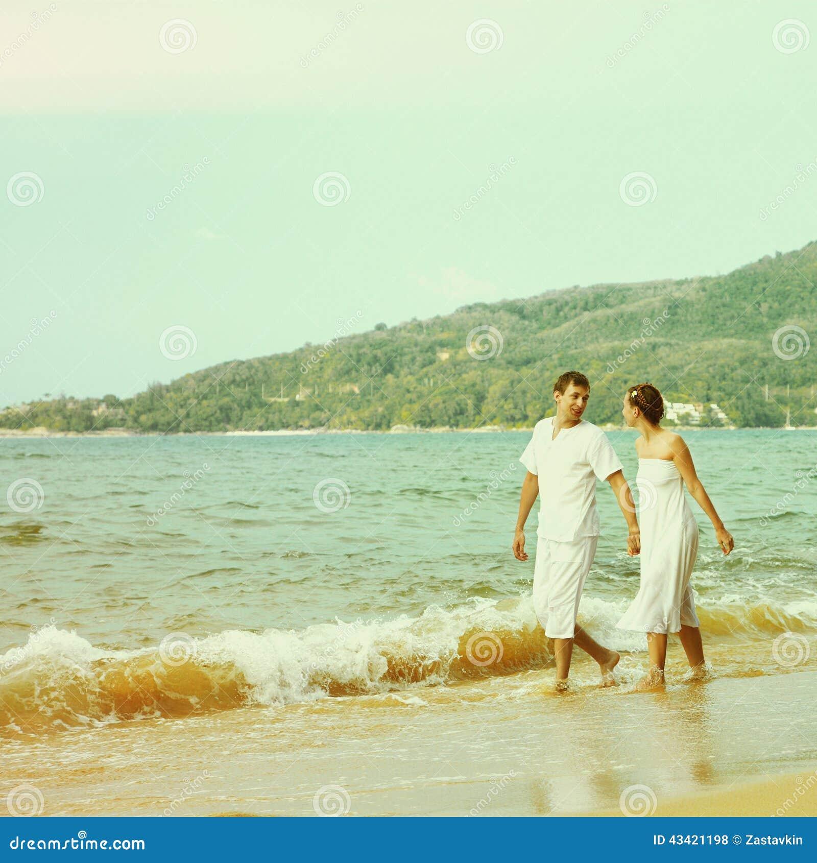 Instagram Colorized Vintage Couple On Beach Portrait Stock