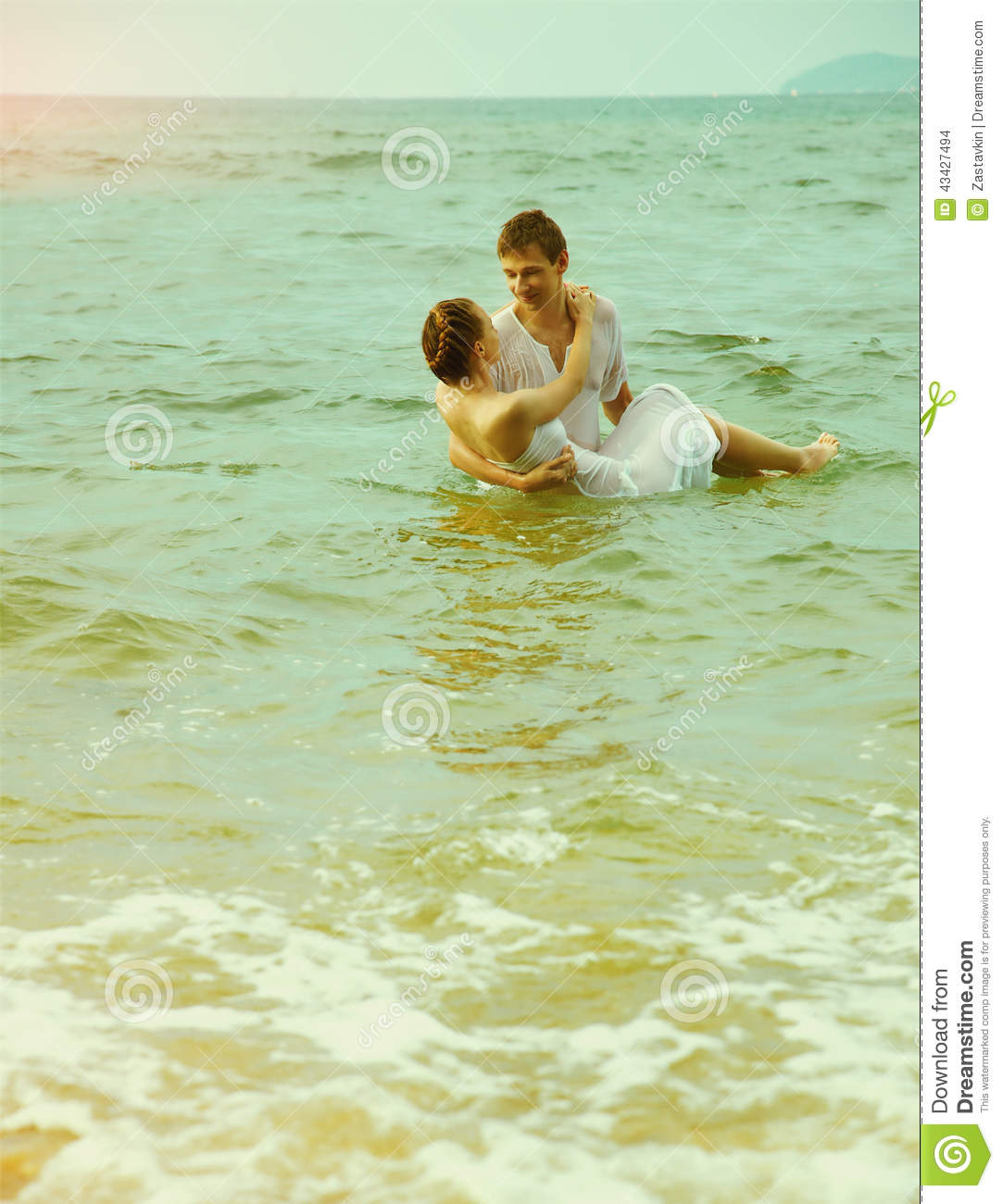 Couple At The Beach Stock Image Image Of Caucasian: Instagram Colorized Vintage Couple On Beach Portrait Stock