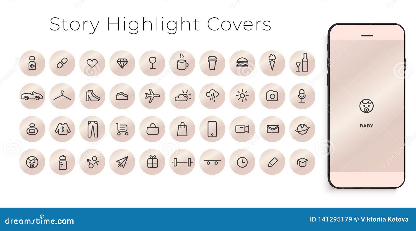 Instagram głównych atrakcji opowieści pokryw kreskowe ikony Doskonalić dla bloggers Set 40 głównych atrakcji pokryw r
