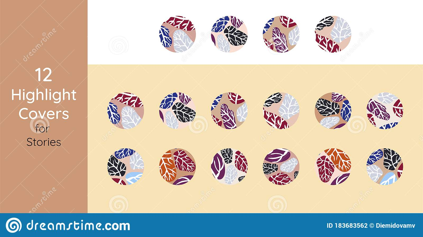 Instagram Highlights Stories Covers Icons Set Perfect For Bloggers Set Of 12 Highlights Covers In Pink And Copper Stock Vector Illustration Of History Cosmetics 183683562