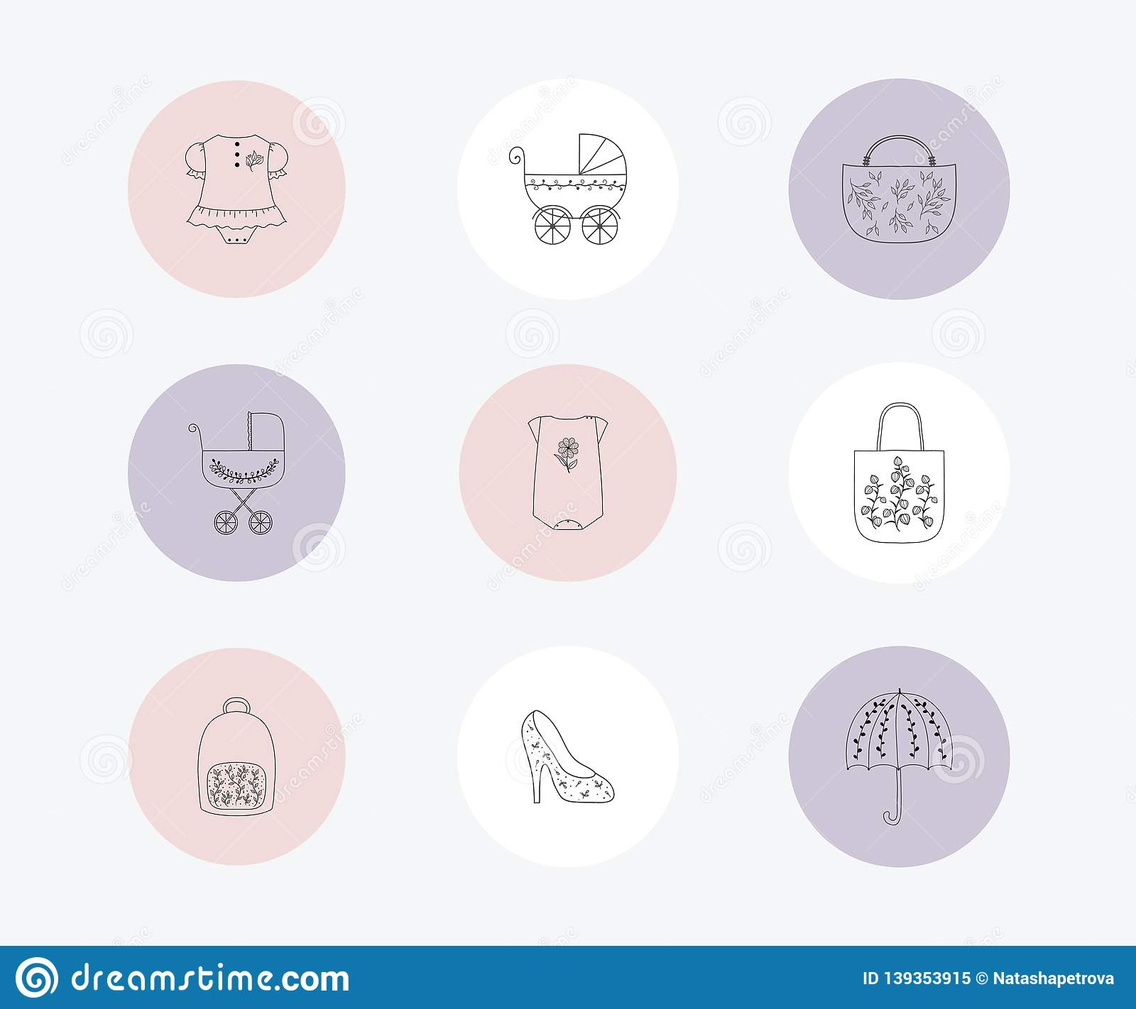 Christmas Icon For Instagram Highlights.Instagram Highlights Stories Covers Stock Vector