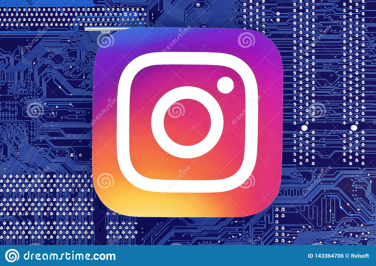 Instagram icon placed on circuit board