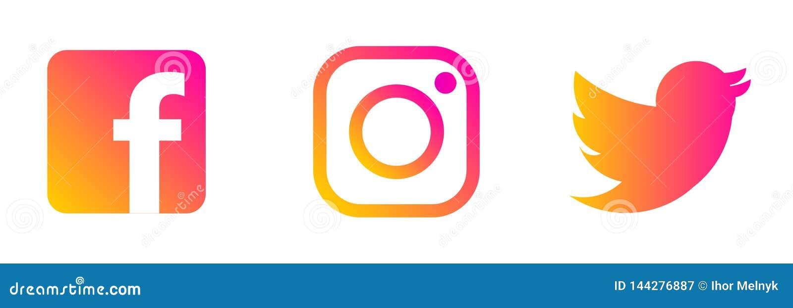 Instagram, logotipo de Twitter Facebook