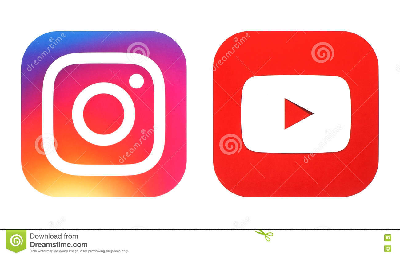 Instagram New Logo And Youtube Icon Printed On White Paper Editorial