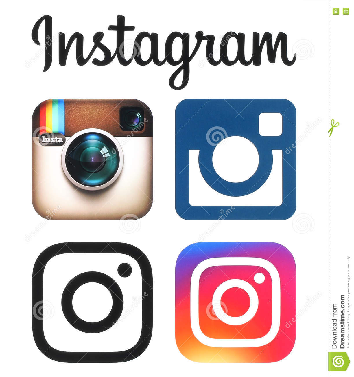 Instagram old and new logos and icons printed on white paper