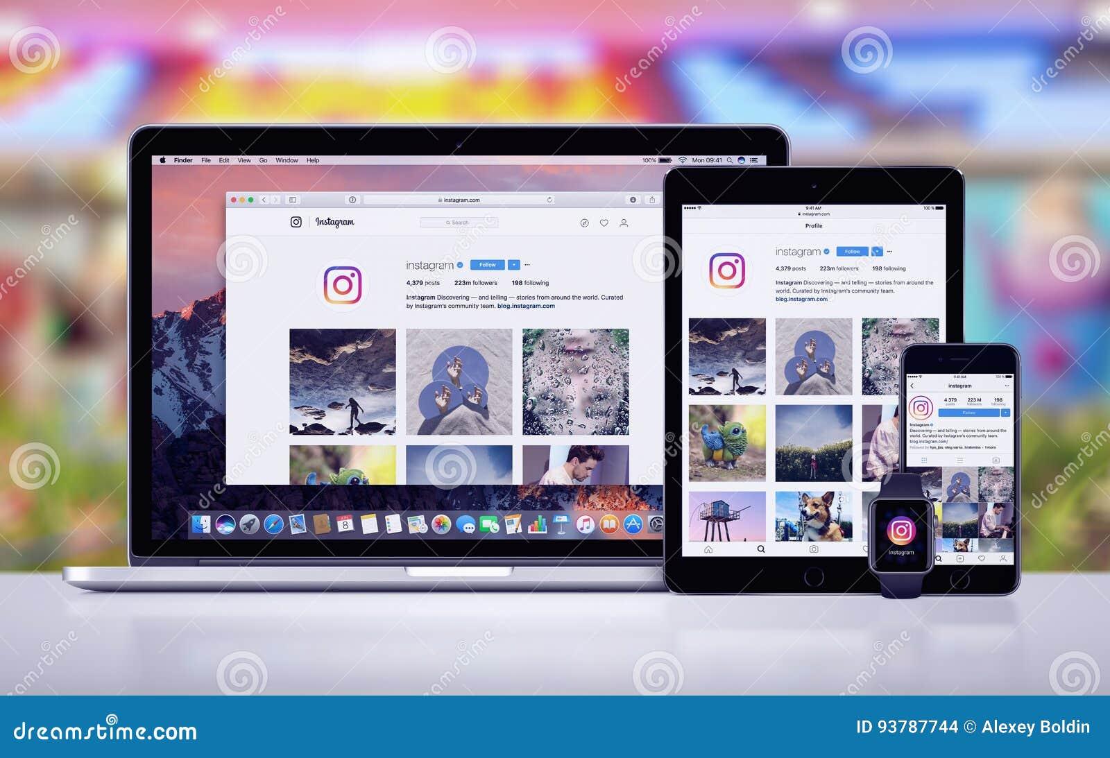 Instagram op Apple-iPhone 7 Horloge en Macbook van iPad het Proapple Pro