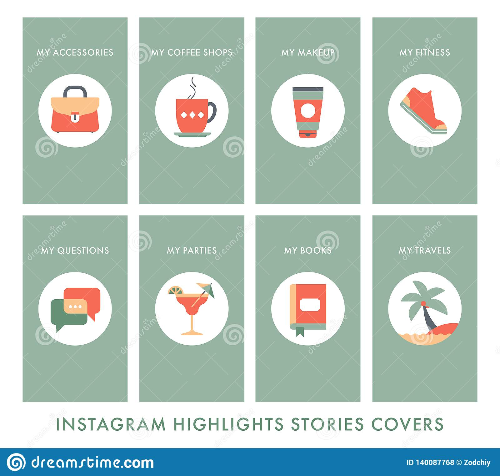 Instagram Story Highlights Copy Stock Vector Illustration Of Gift Cute 140087768