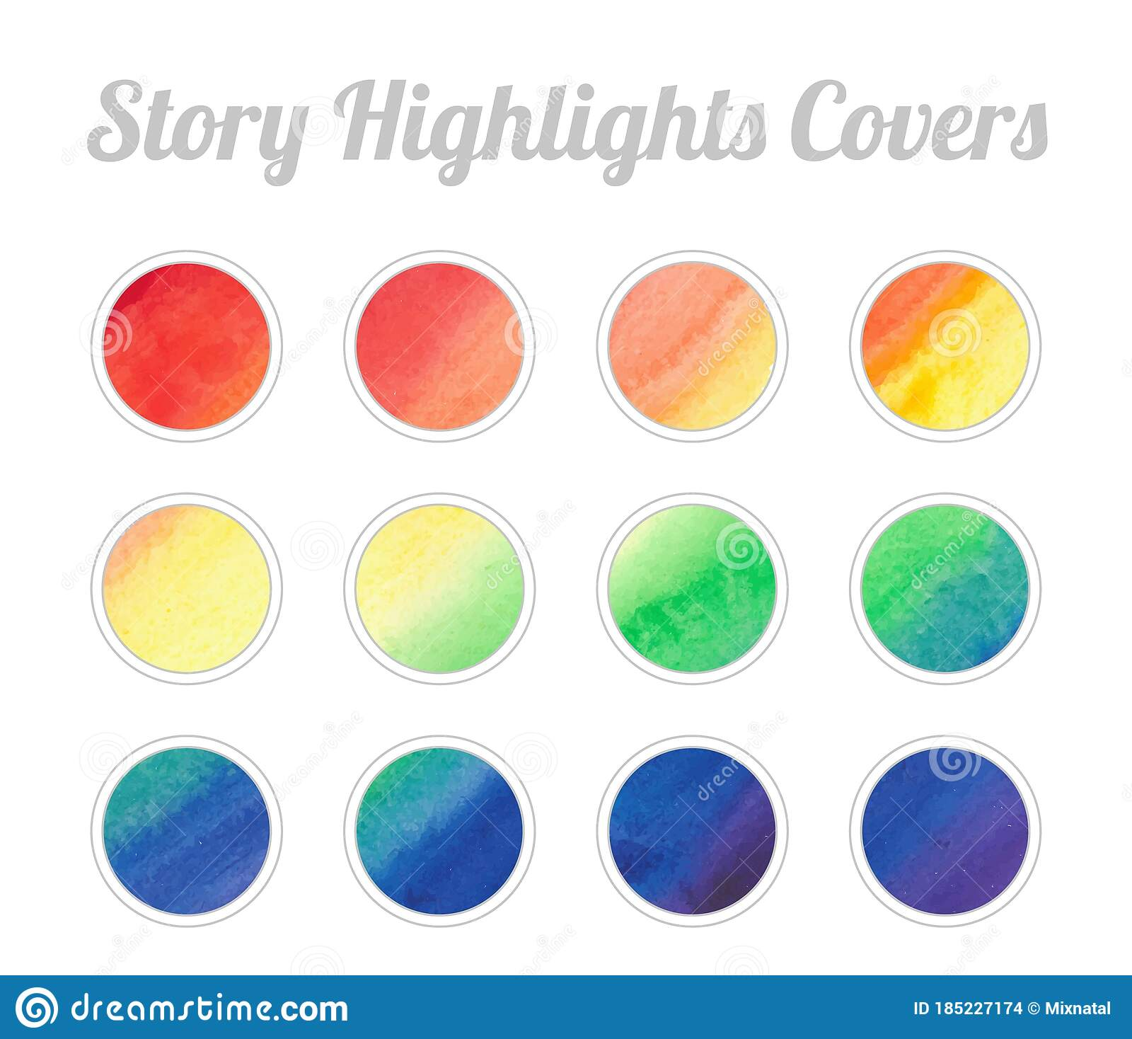 Set Of Story Highlights Covers Icons Colorful Watercolor Background Red Orange Yellow Green Blue Purple Bright Colors Stock Vector Illustration Of Abstract Background 185227174