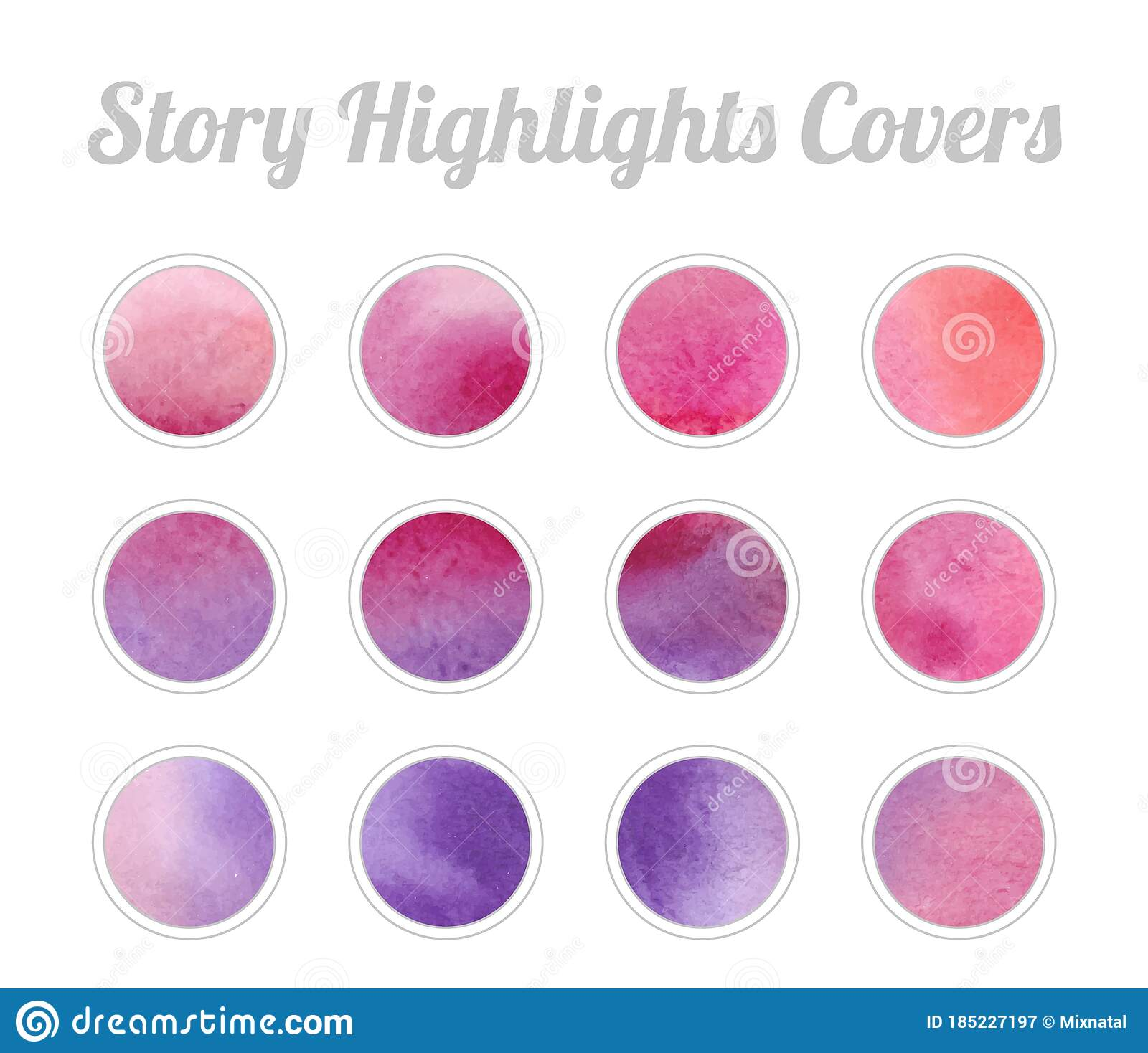 Set Of Story Highlights Covers Icons Colorful Watercolor Background Magenta And Purple Bright Colors Stock Vector Illustration Of Paint Aqua 185227197