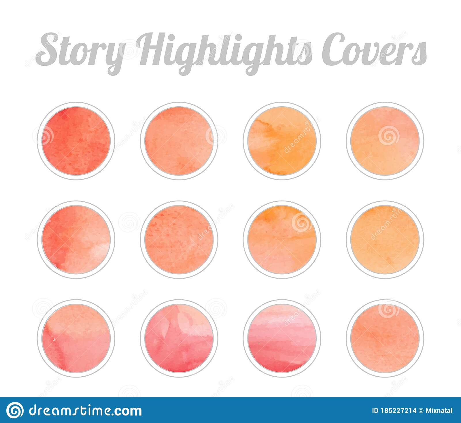 Set Of Story Highlights Covers Icons Colorful Watercolor Background Orange And Red Bright Colors Stock Vector Illustration Of Design Abstract 185227214