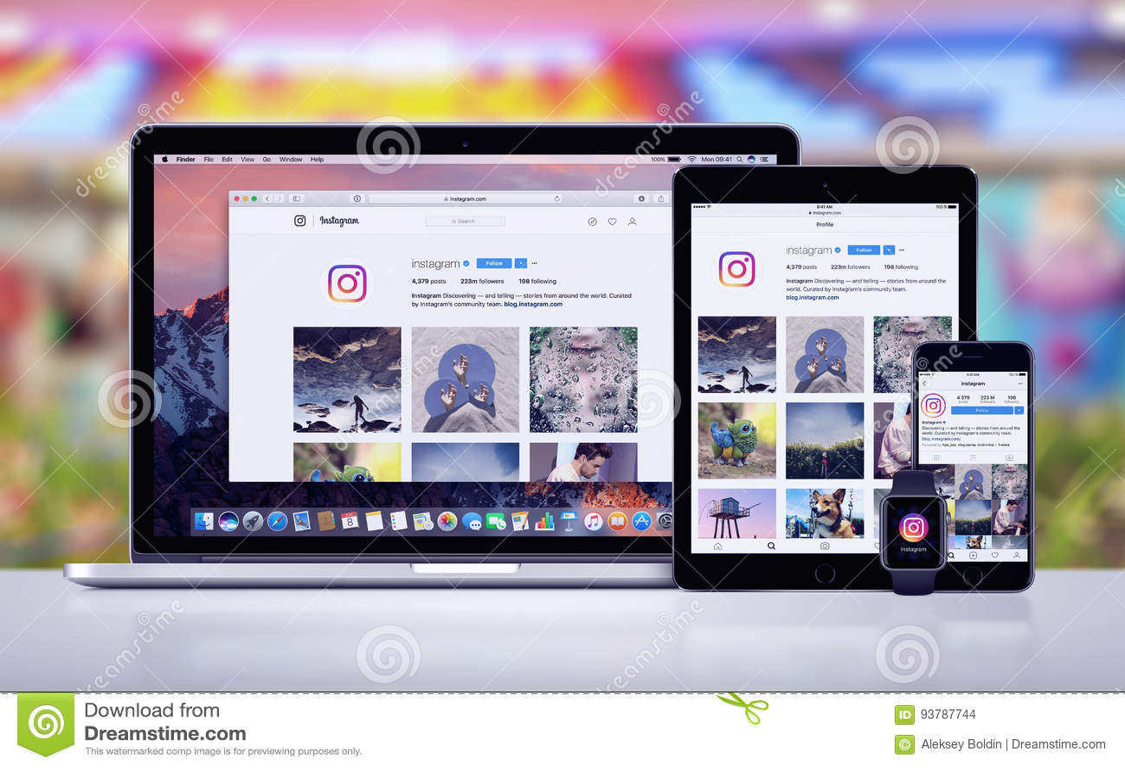 Instagram sur l iPad pro Apple de l iPhone 7 d Apple observent et Macbook pro