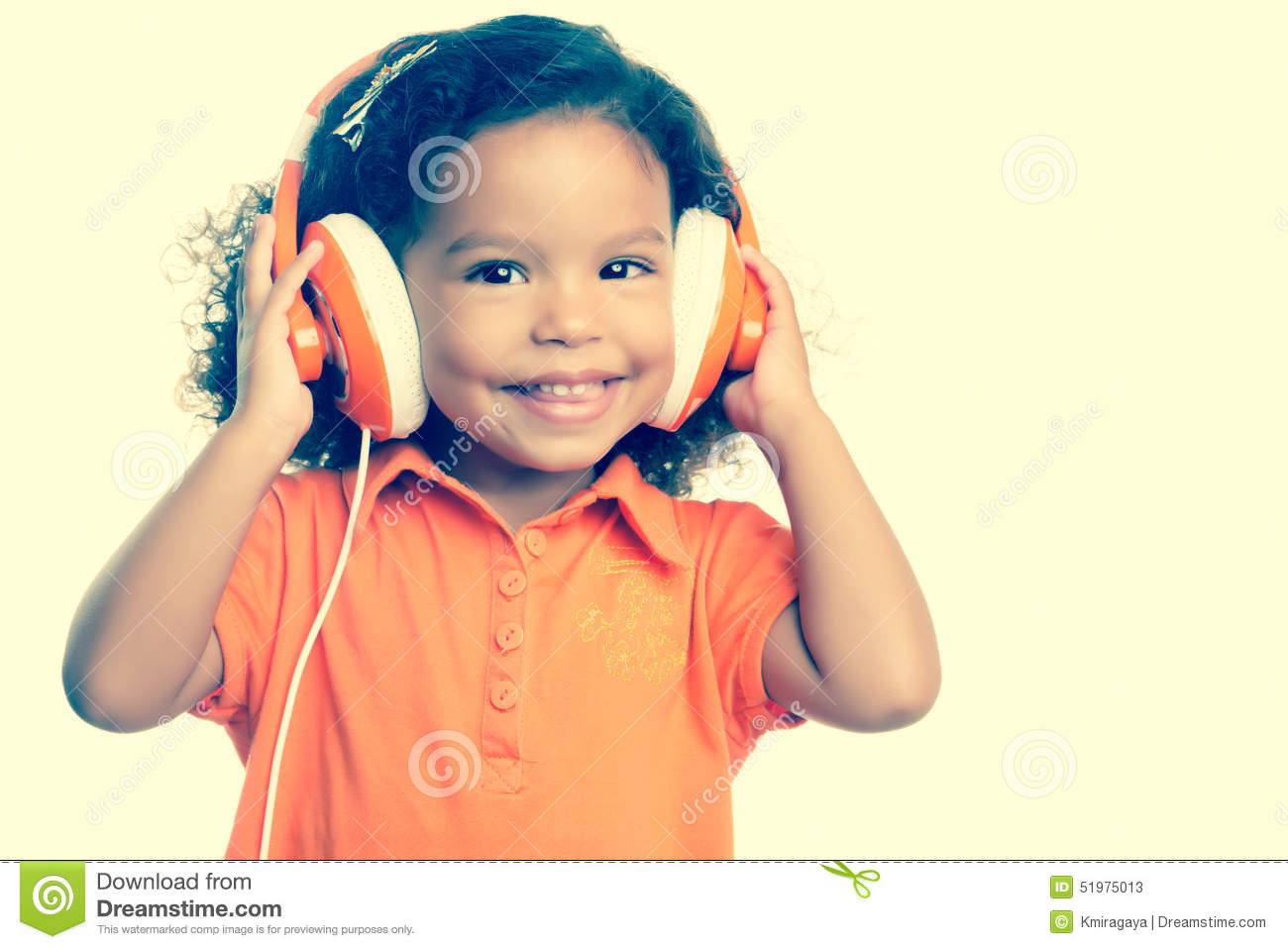 instagram toned small girl listening to music stock photo