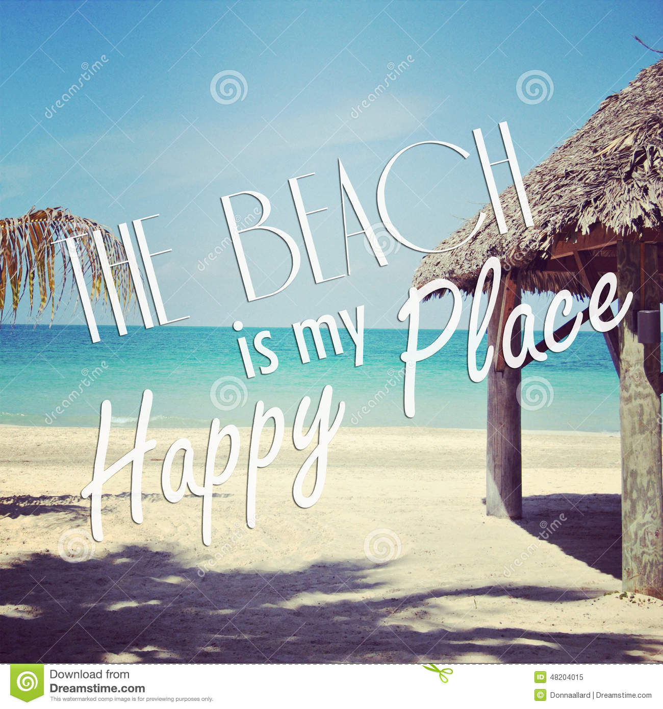 Instagram Of Tropical Beach With Quote Stock Illustration