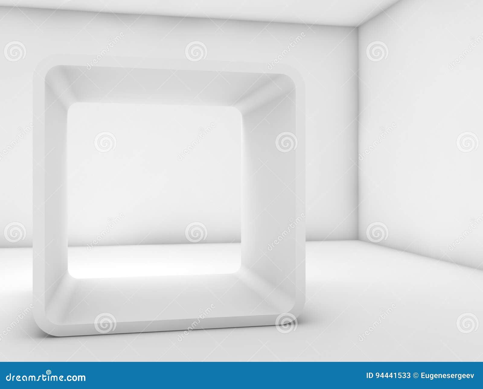 Instalación Blanca Del Marco De Caja Del Chaflán 3d Rinden Stock de ...