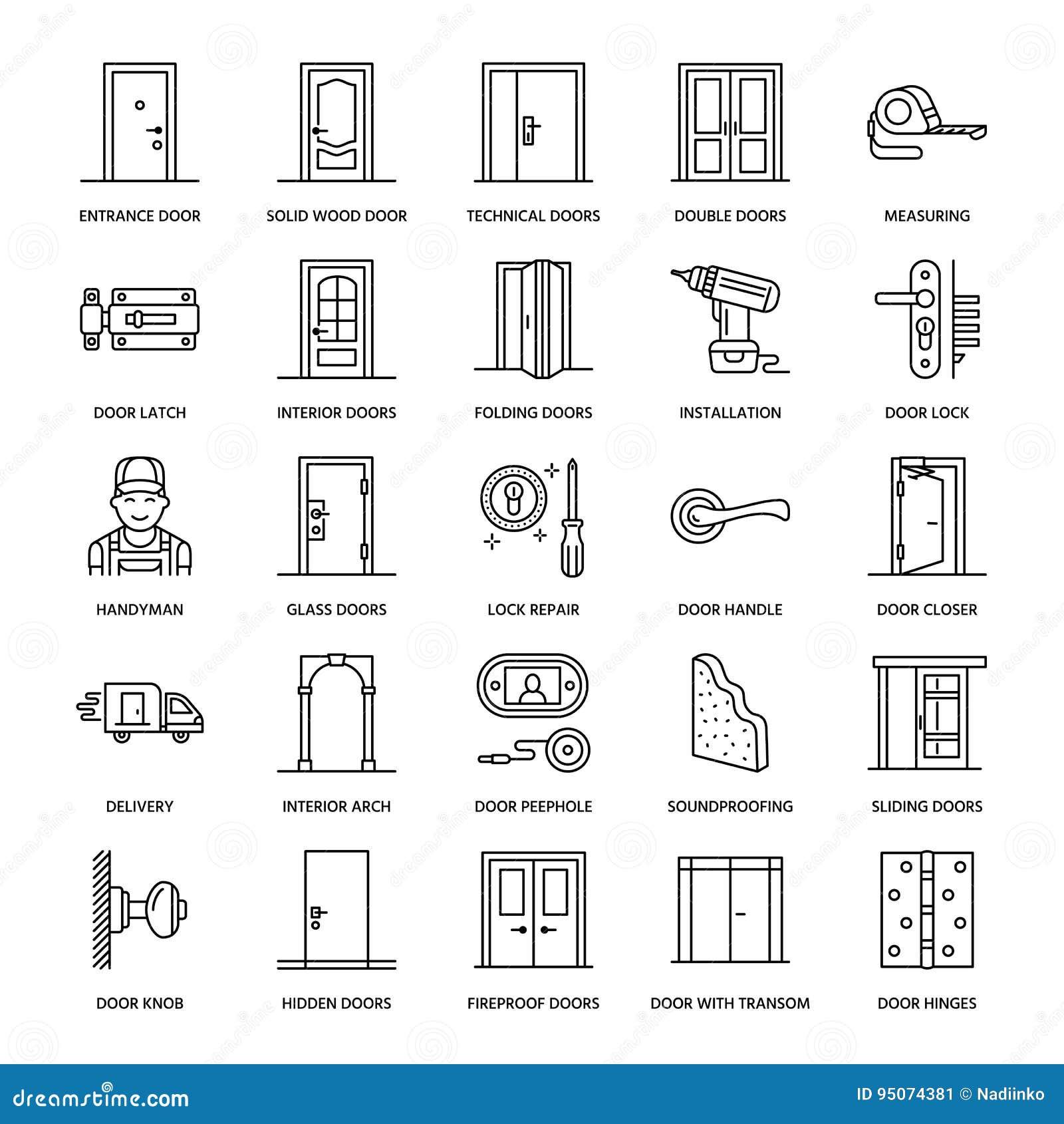 Instalaci n de las puertas l nea iconos de la reparaci n for Tipos de cerraduras para puertas