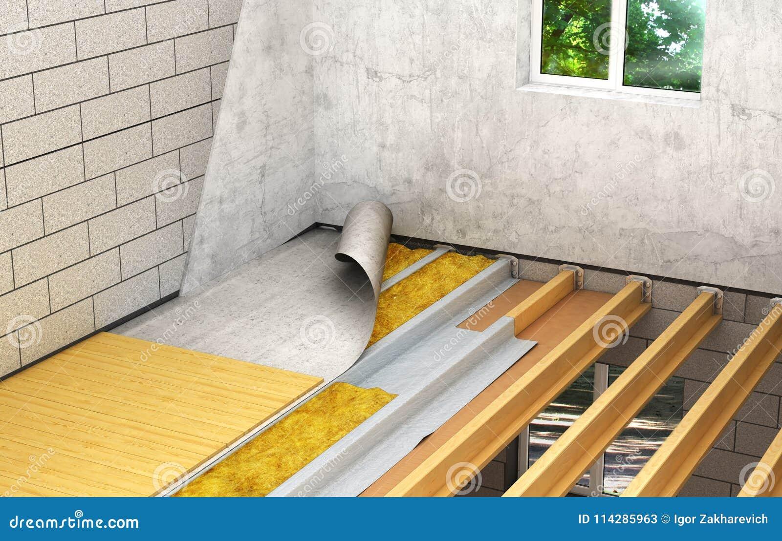 Instalaci n de pisos de madera entre los pisos tecnolog a detallada de la construcci n 3d stock Instalacion piso madera