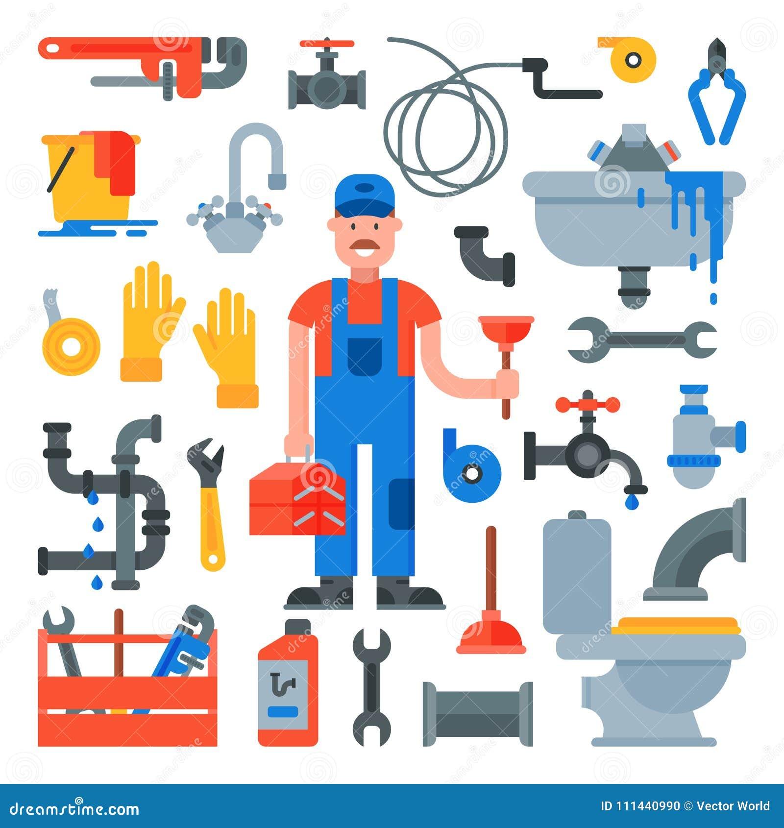 Instalacja wodnokanalizacyjna hydraulika charakteru naprawiania wektorowe drymby z narzędziami i rurociąg wyposażenia ilustracyjn