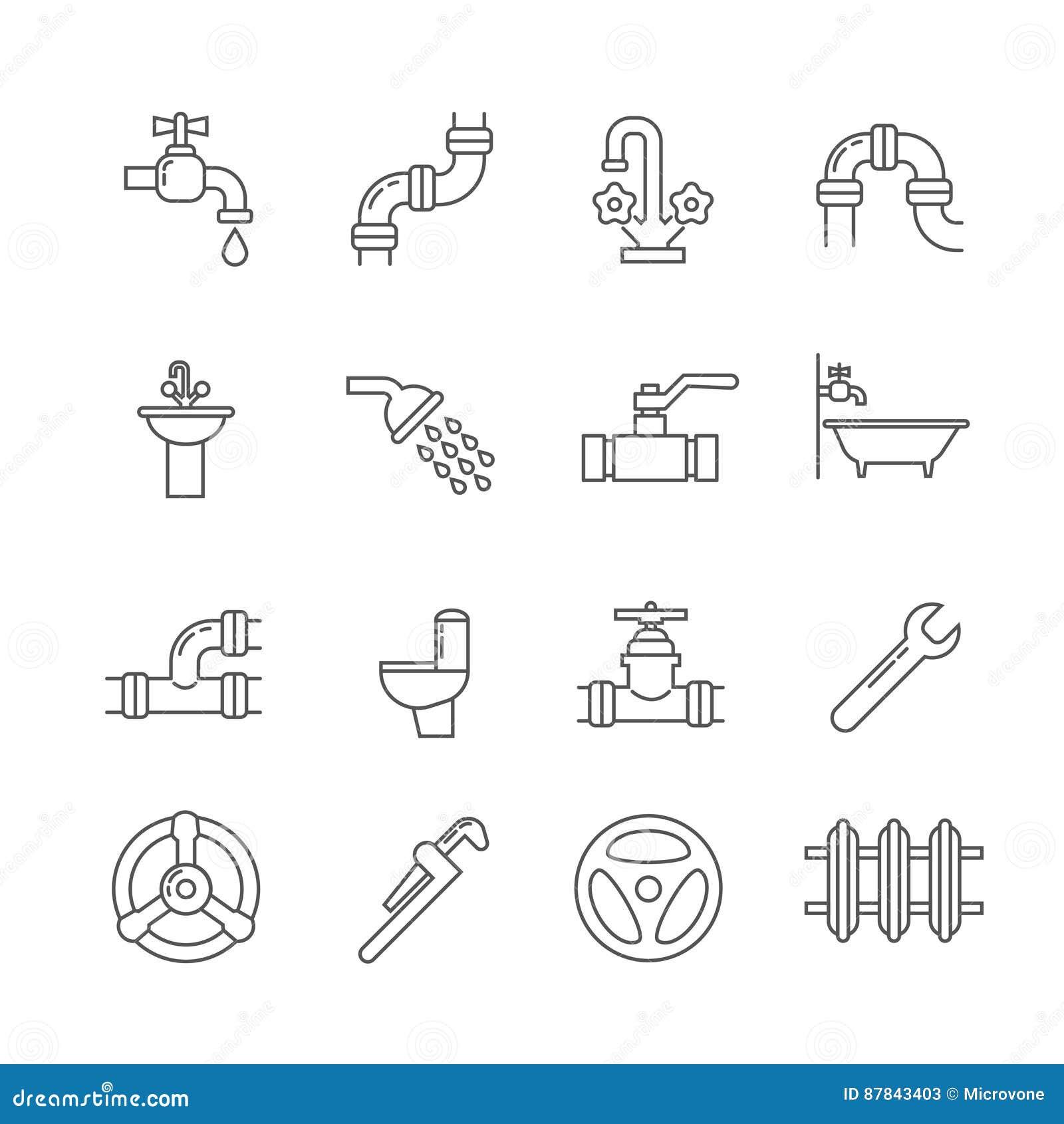 Instalacja wodnokanalizacyjna, kanalizacja, drymba, faucet cienkie kreskowe wektorowe ikony ustawiać
