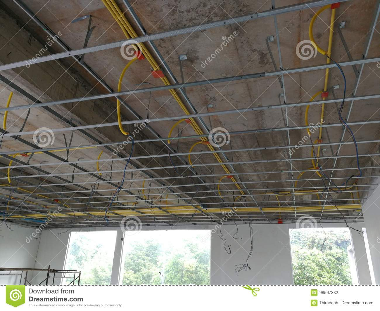 install the ceiling frame and wiring pipe