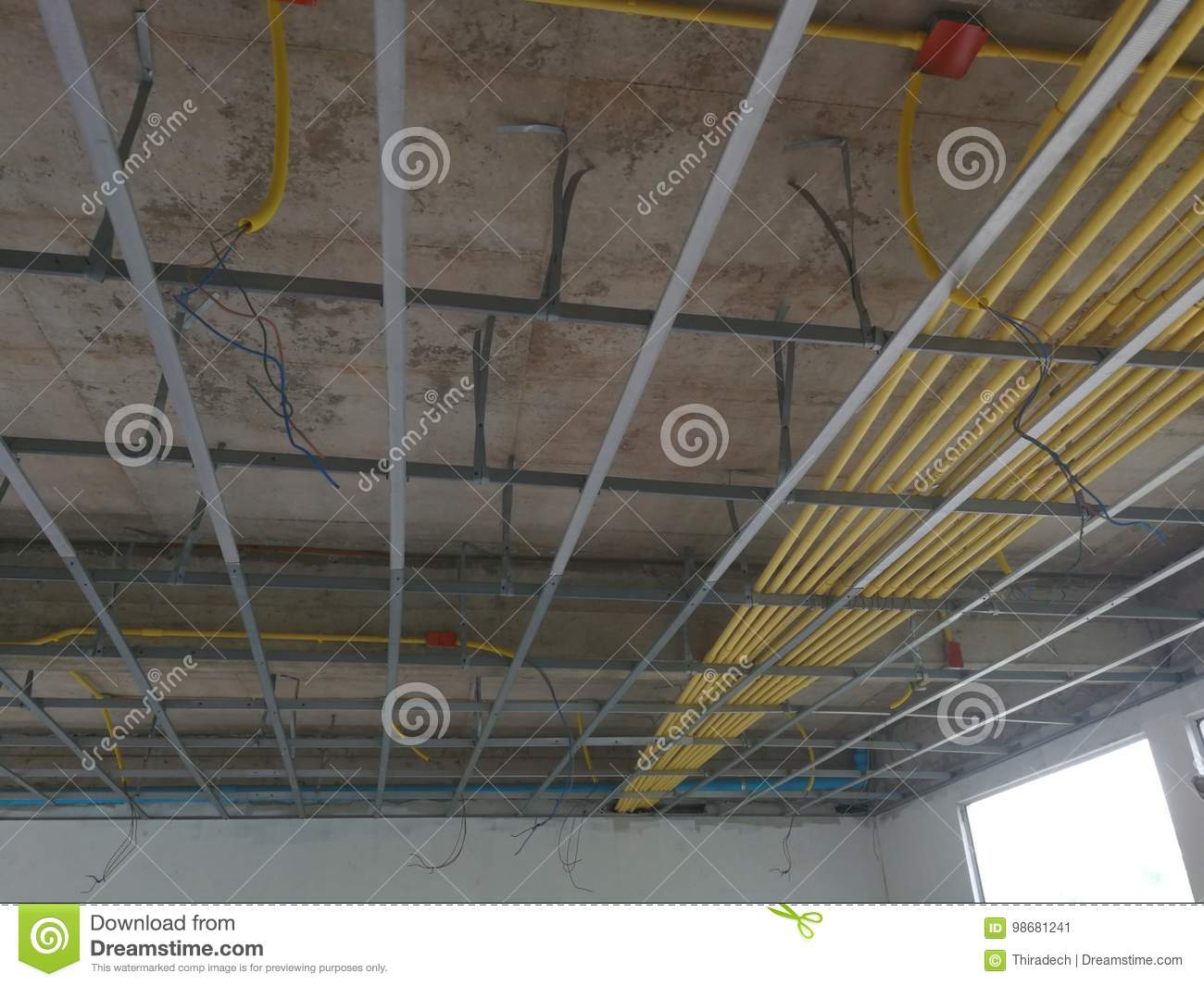 Astonishing Install The Ceiling Frame And Wiring Pipe Stock Image Image Of Wiring Cloud Nuvitbieswglorg