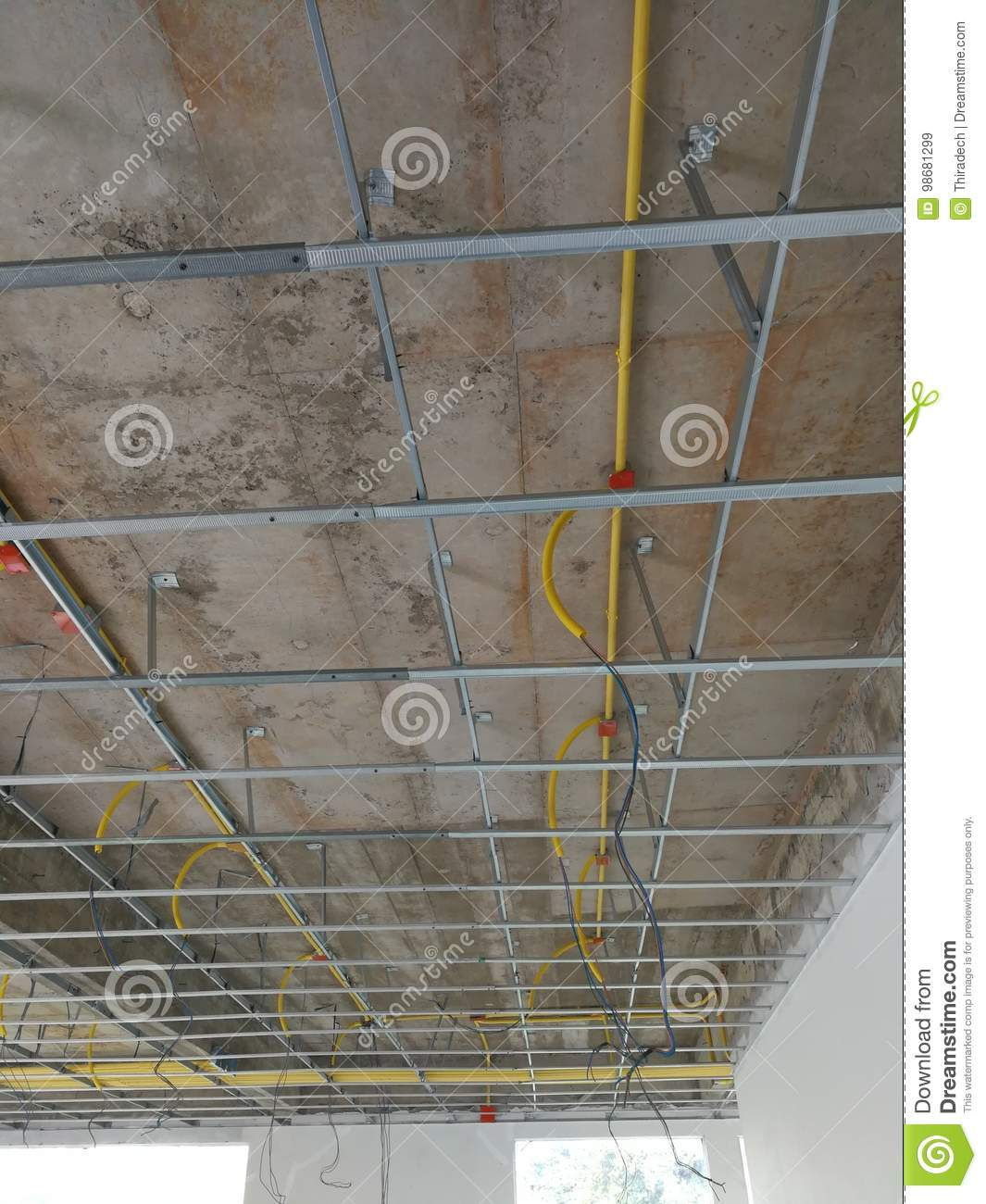 Install The Ceiling Frame And Wiring Pipe Stock Image Of Home Design Under Construction Duct