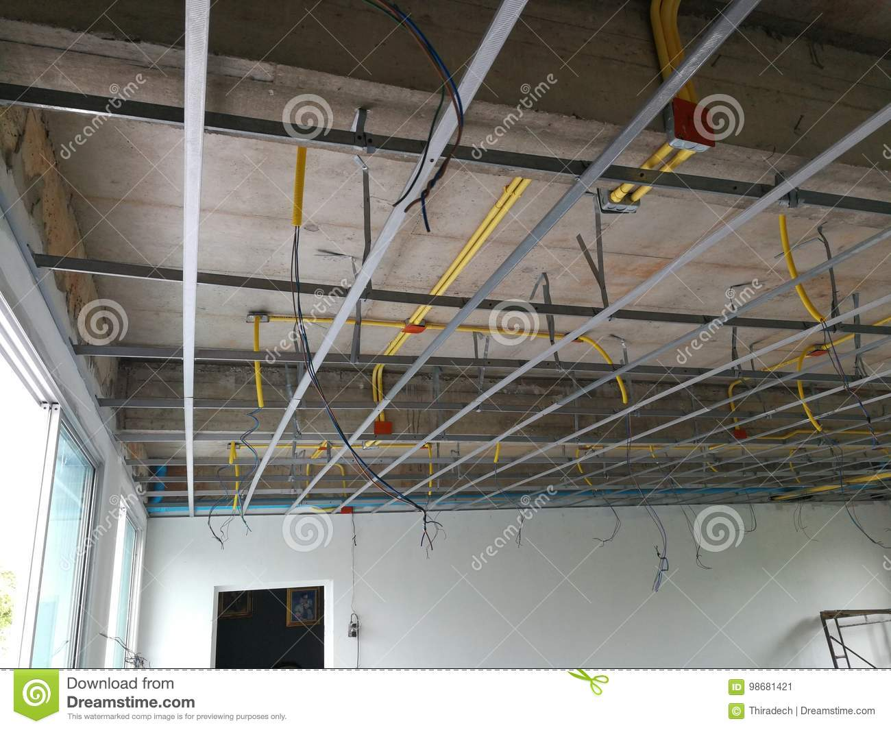 Superb Install The Ceiling Frame And Wiring Pipe Stock Image Image Of Wiring Cloud Nuvitbieswglorg