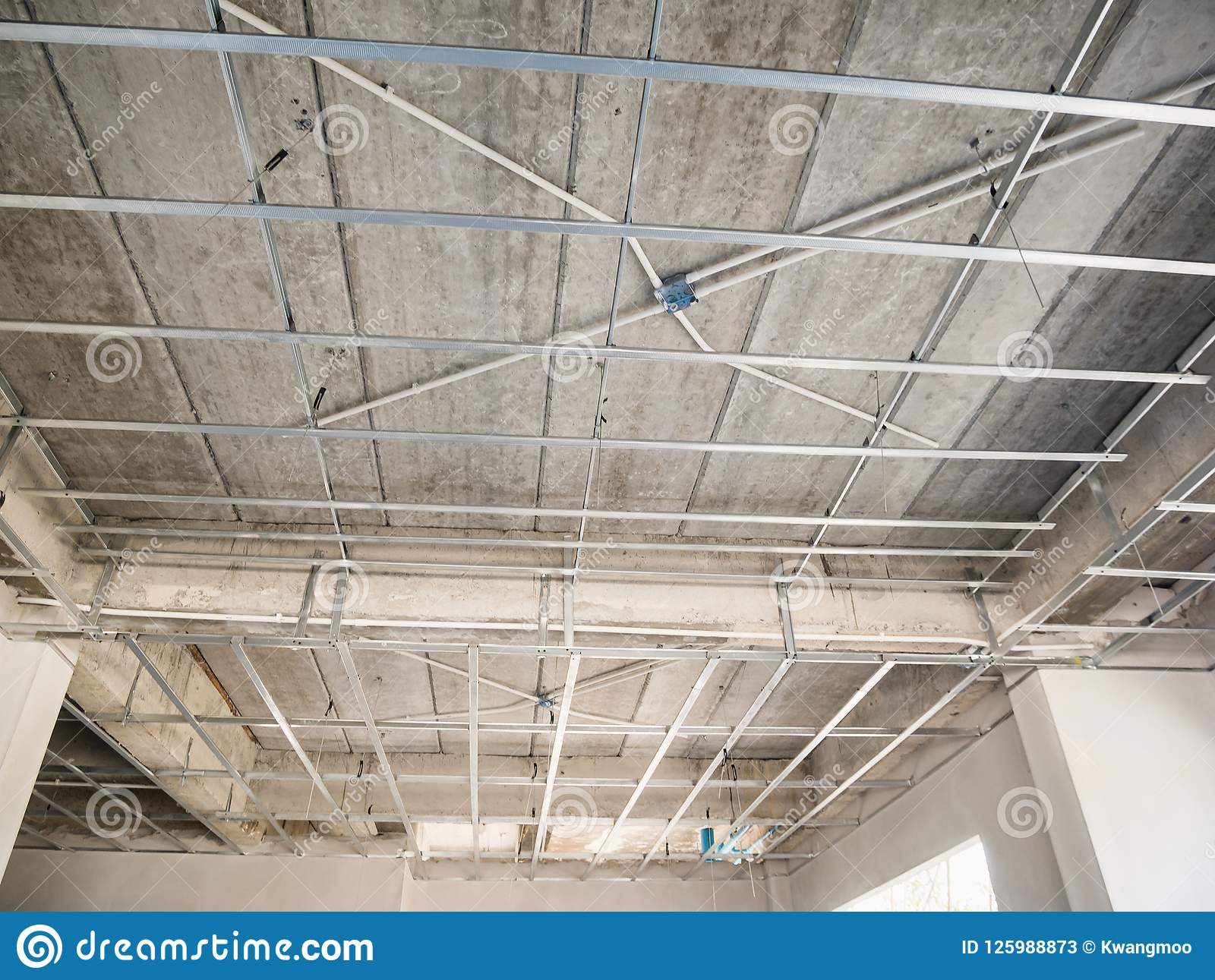 Install Metal Frame For Plaster Board Ceiling At House Stock