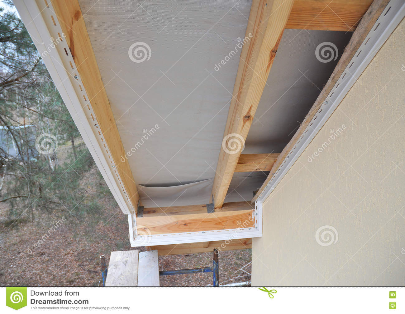 Wood Aluminum Composite Round Oval Window Stock Photo
