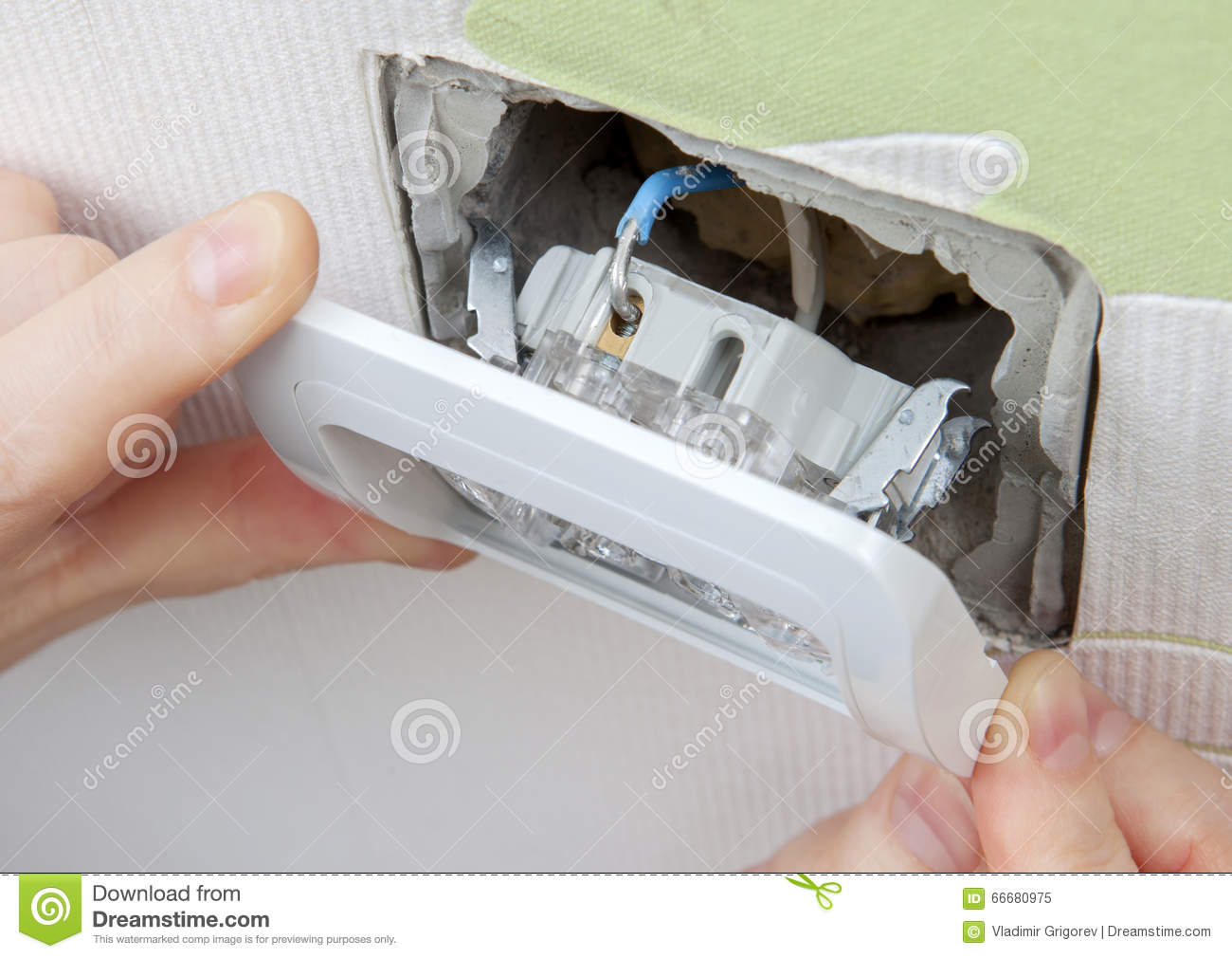Install Wall Light Switch Insert Into Electrical Box Stock Image ...
