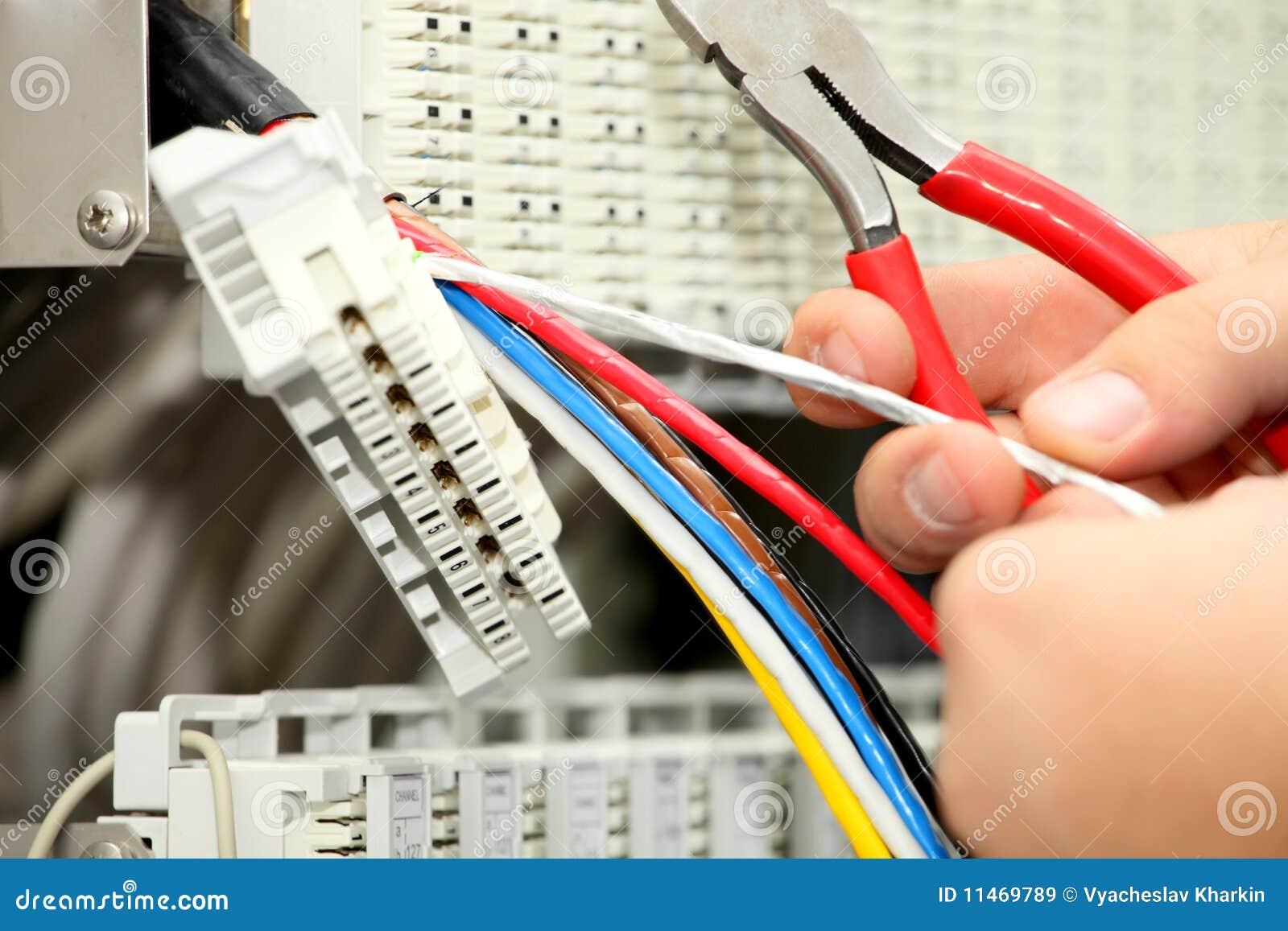 Installatie een kabel van mededeling