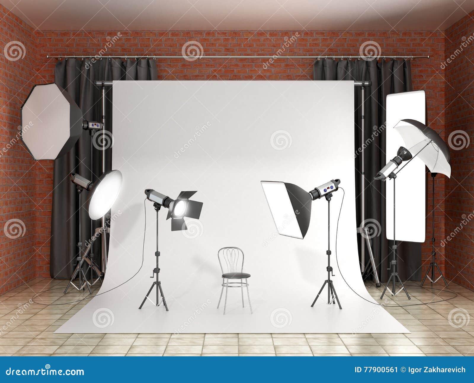 Installatie van verlichting in de fotostudio