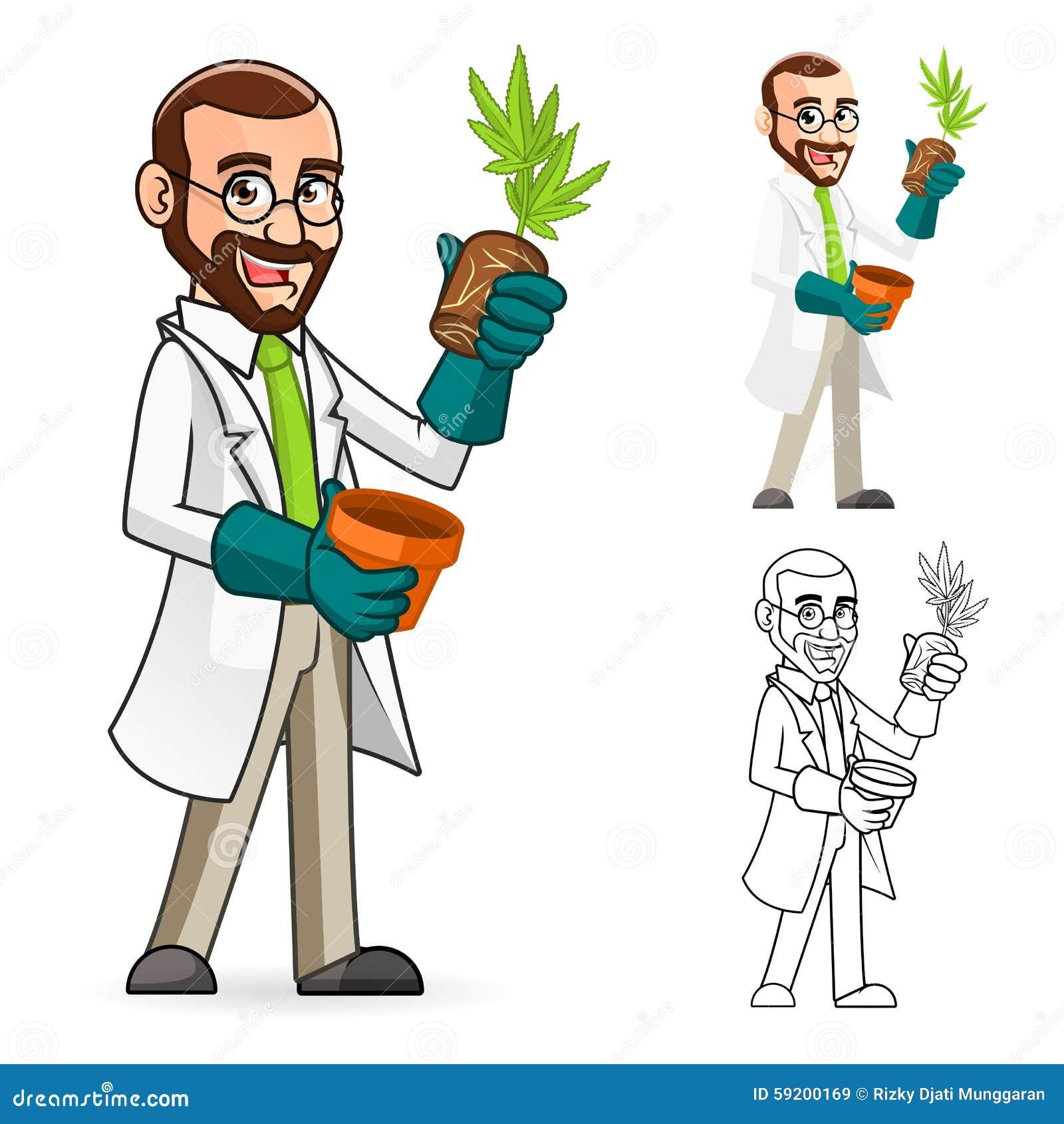 Installatiewetenschapper Cartoon Character Inspecting de Wortels van een Installatie
