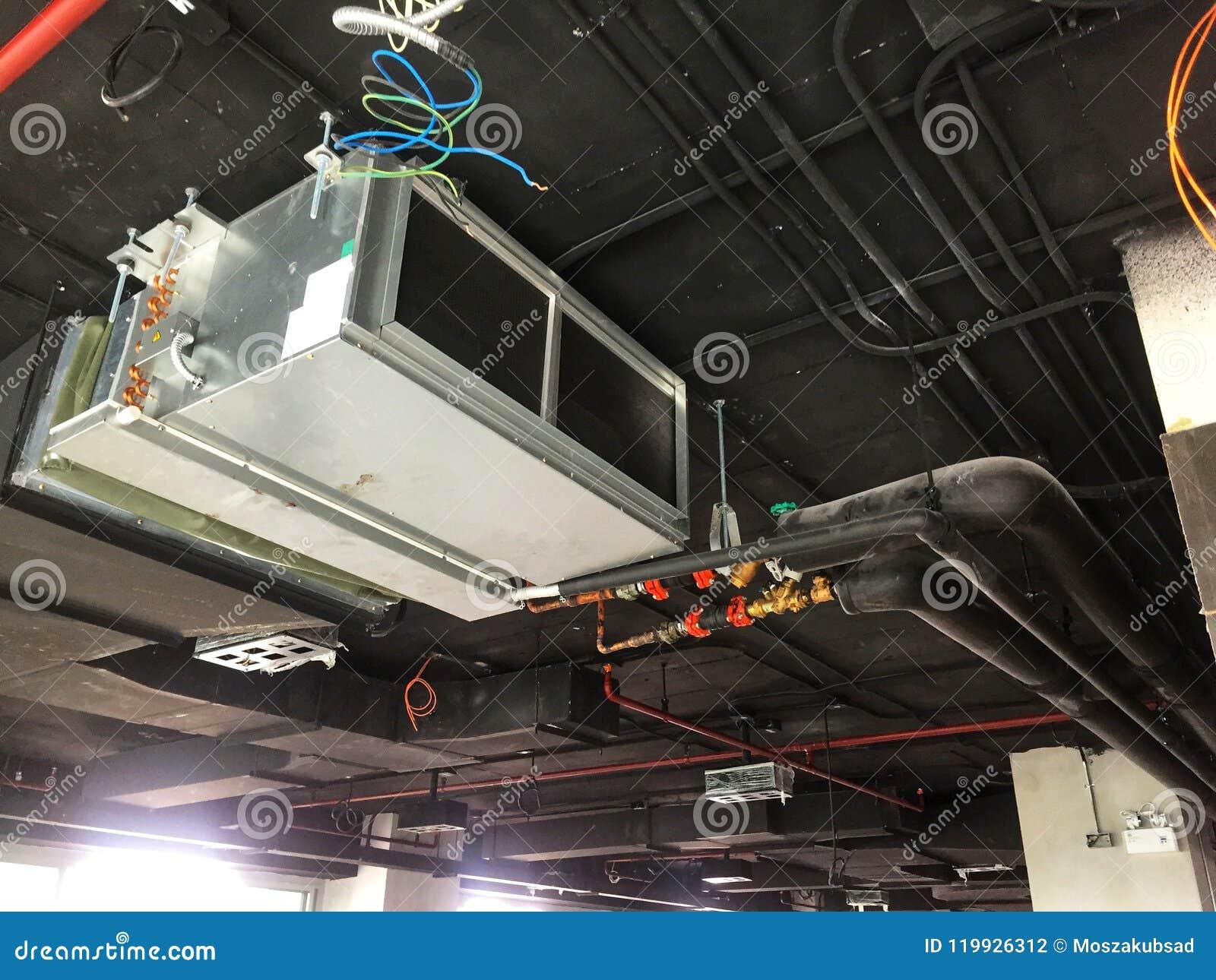 Installation Of Air Handing Unit In Loft Office Stock