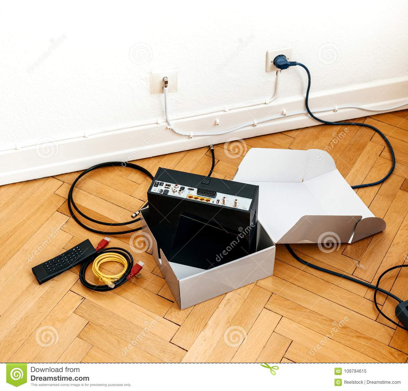 Installation Of Cable Internet Provider Modem Set-box Stock Image ...