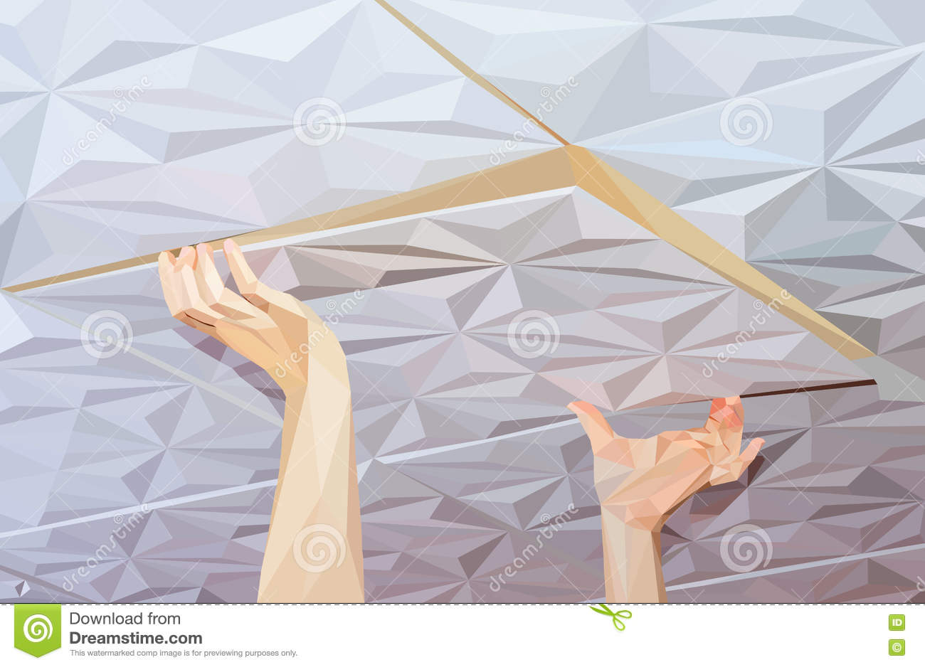 Installation Of Ceiling Tiles Made Of Polystyrene Stock Illustration