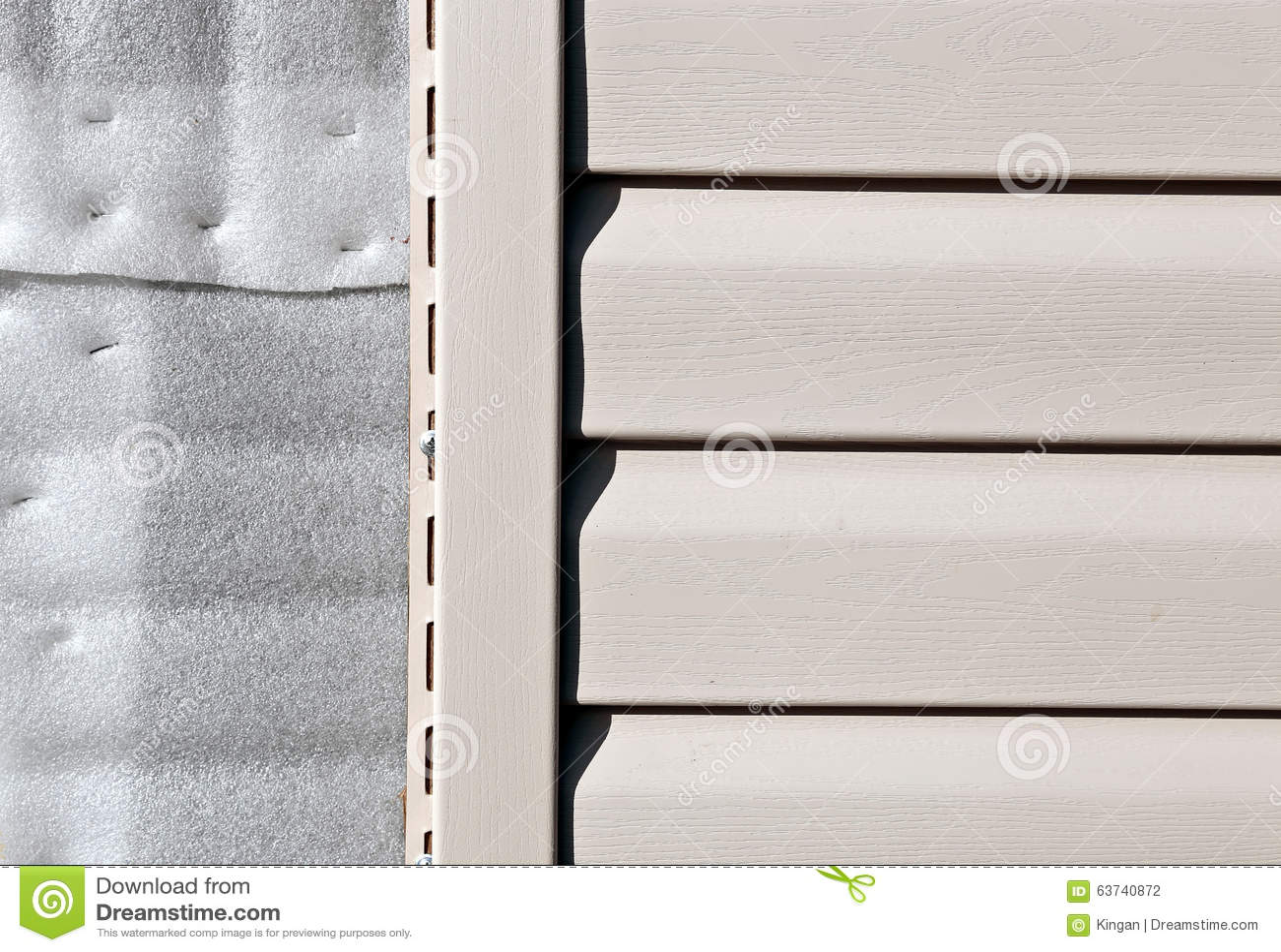 Installation On Facade Panels Beige Vinyl Siding Stock
