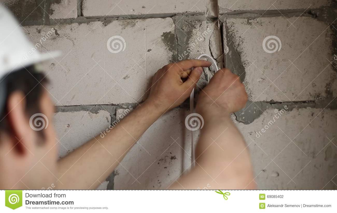 Installation Of Hidden Wiring Stock Footage - Video of ... on