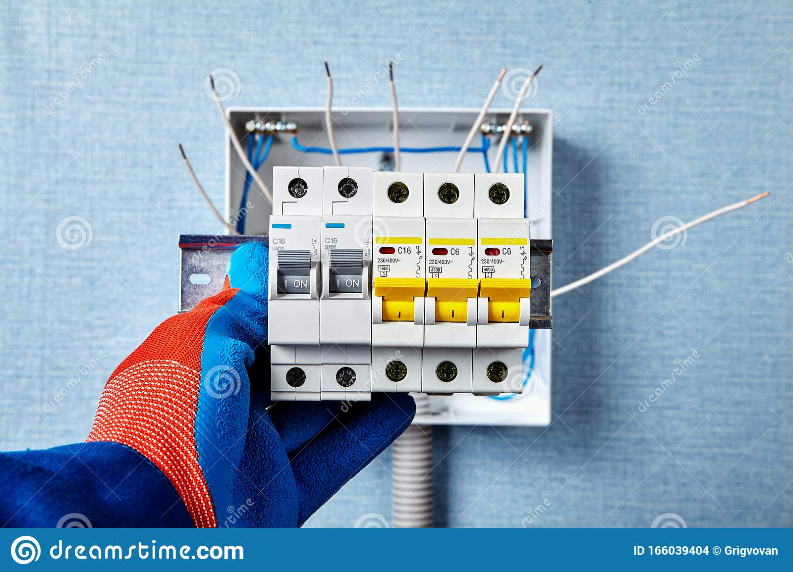 Installation Of Home Electrical Circuit Breakers Stock Photo Image Of Automatic Electricity 166039404