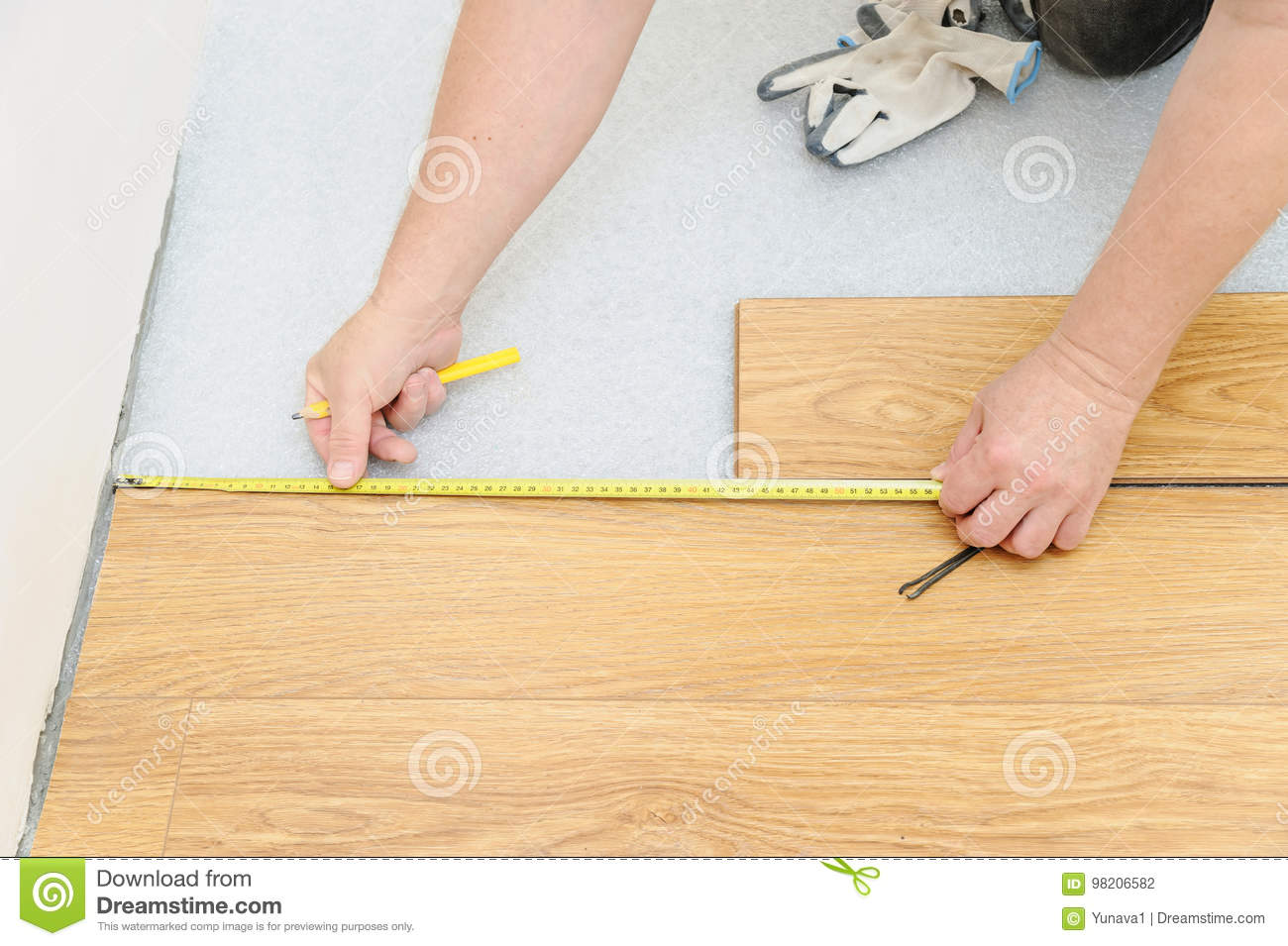 Installation Of A Laminate Floorboard Stock Photo Image Installing Background