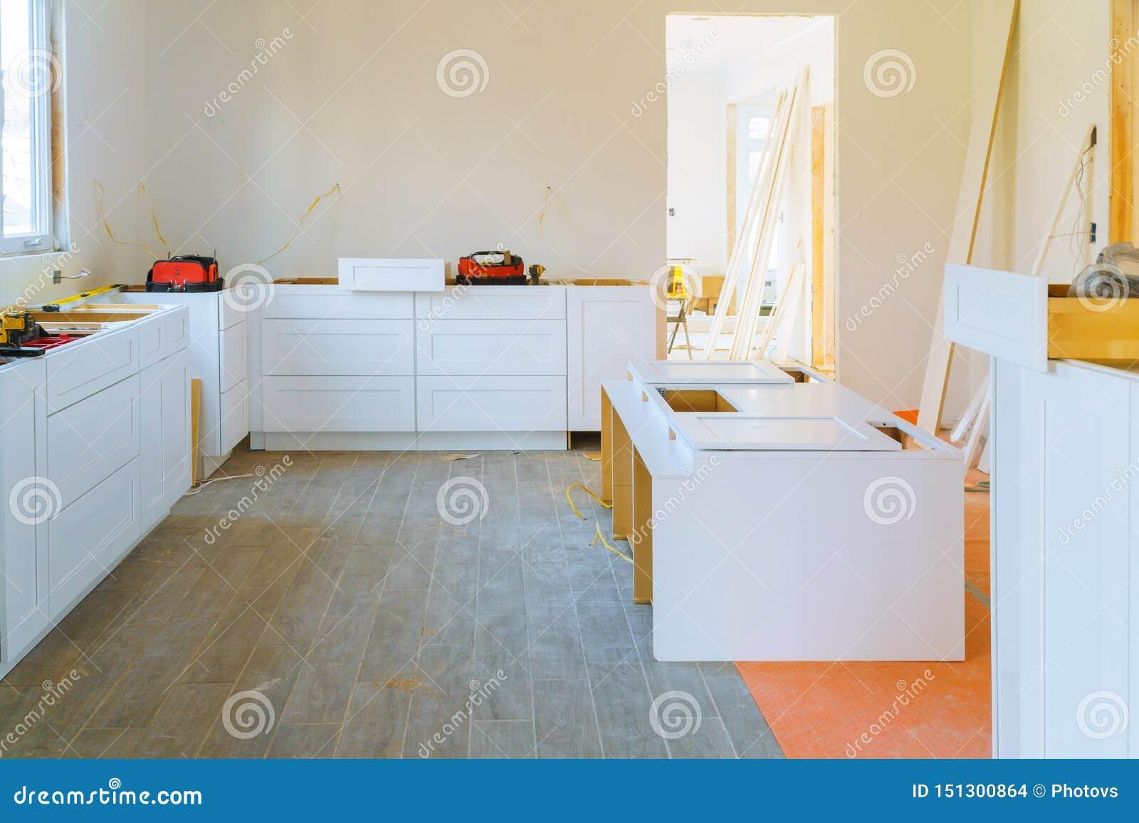 Installation Modern Kitchen Cabinet Of Furniture Details Stock