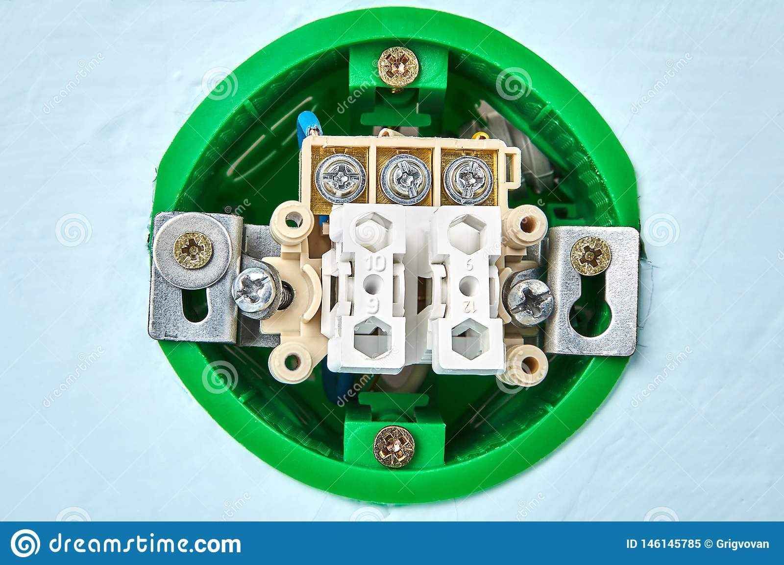 Installation Of New Double Light Switch Stock Image - Image