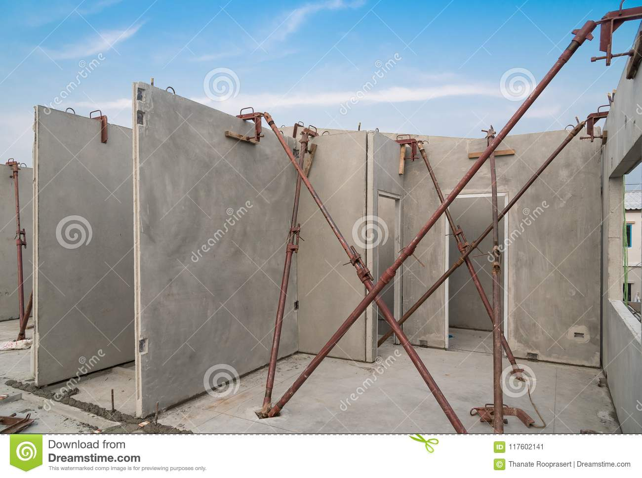 Installation Of Prefabricated Building Wall Panels Stock Image Image Of Place Material 117602141
