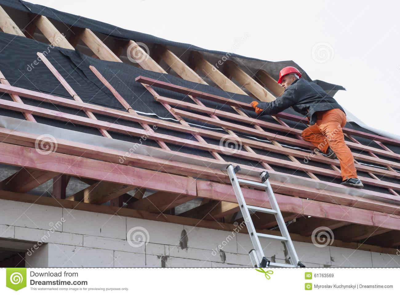 Cartoon Roofing Installation : Roofer installs a skylight on the new roof using drill