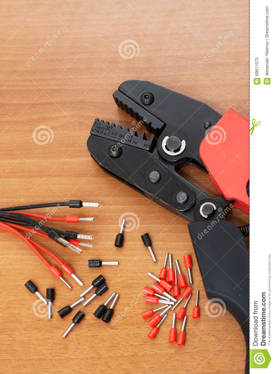Awe Inspiring Installation Tool Crimp Terminals For The Cable Stock Image Wiring 101 Akebretraxxcnl